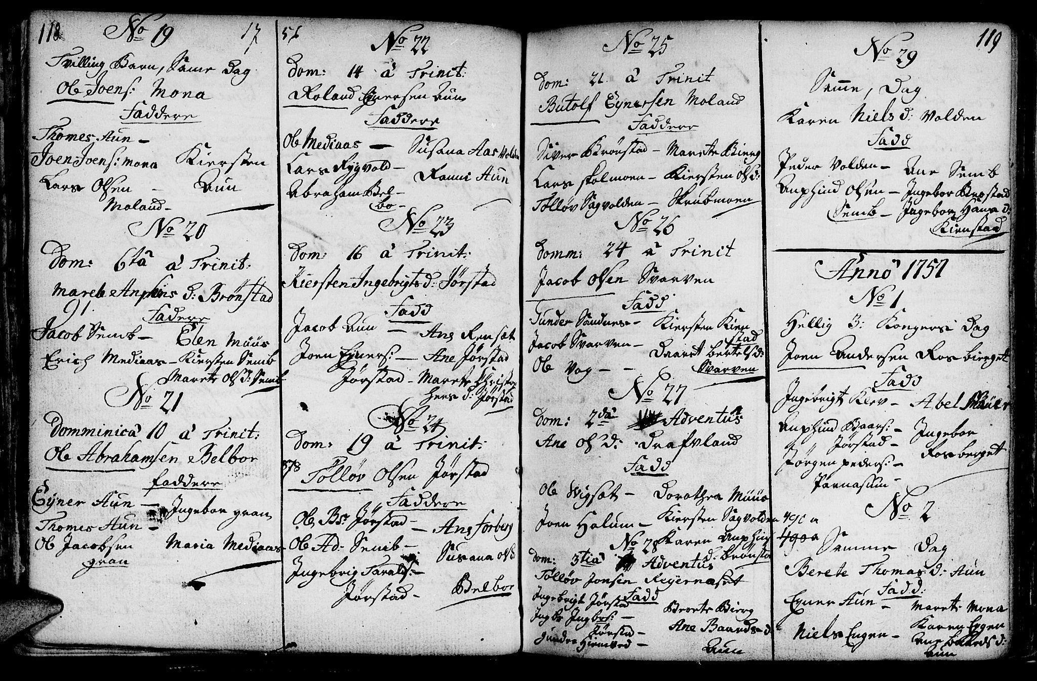 SAT, Ministerialprotokoller, klokkerbøker og fødselsregistre - Nord-Trøndelag, 749/L0467: Ministerialbok nr. 749A01, 1733-1787, s. 118-119