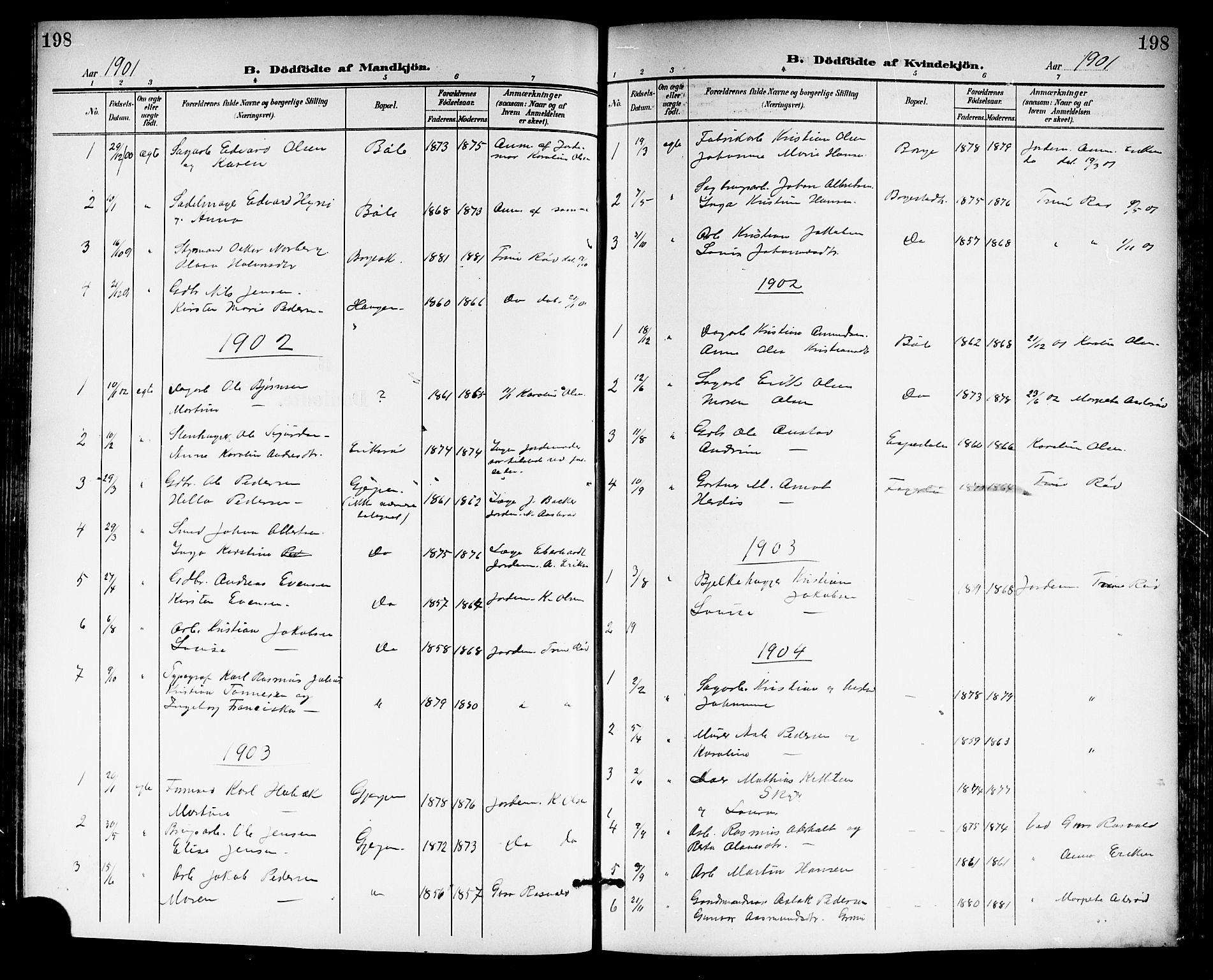 SAKO, Gjerpen kirkebøker, G/Ga/L0003: Klokkerbok nr. I 3, 1901-1919, s. 198