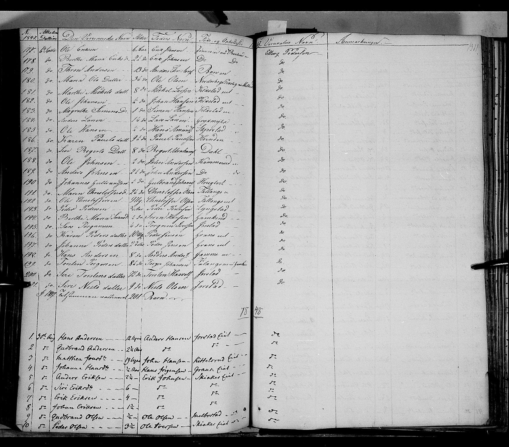 SAH, Gran prestekontor, Ministerialbok nr. 11, 1842-1856, s. 1310-1311