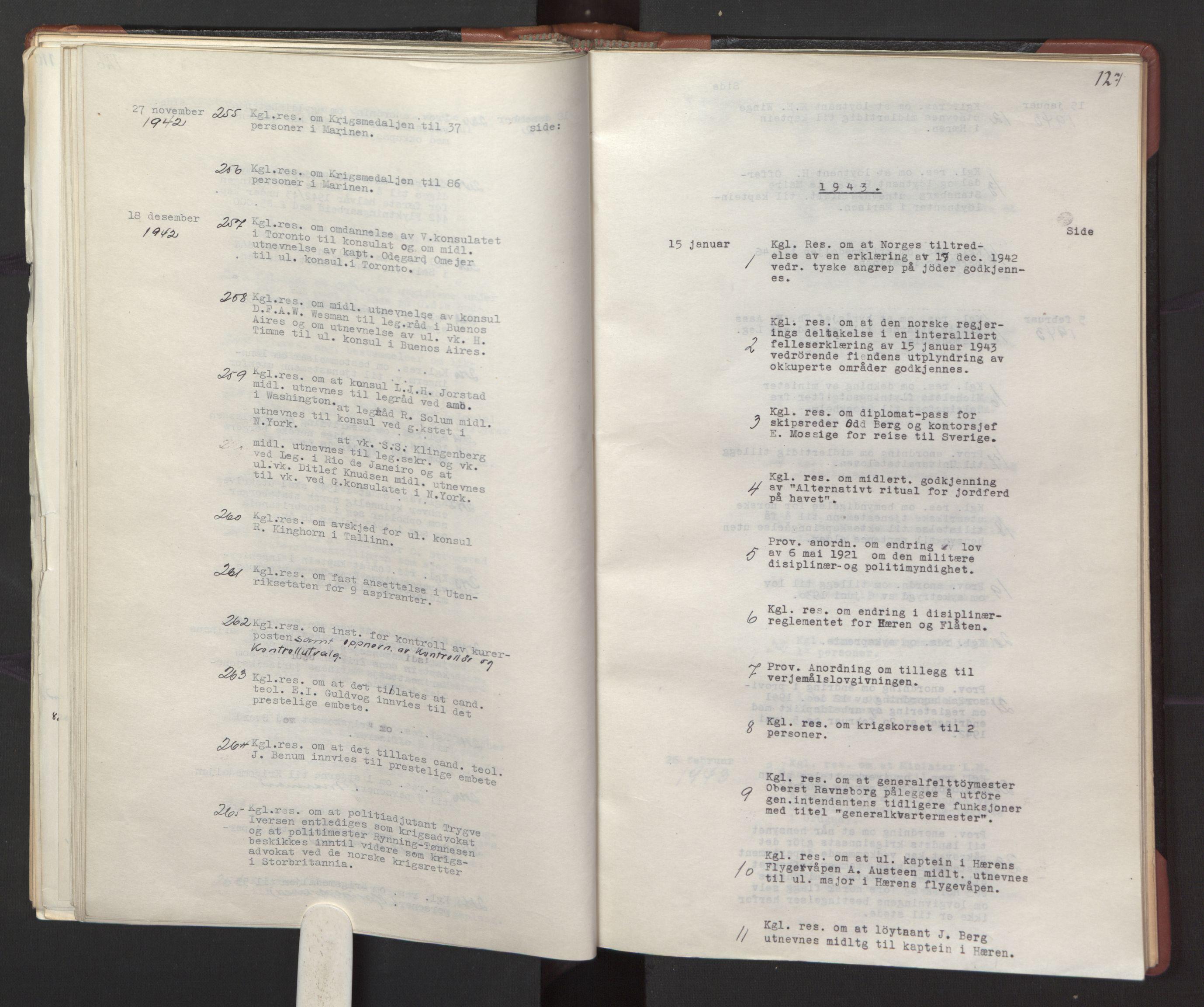 RA, Statsrådssekretariatet, A/Ac/L0127: Register 9/4-25/5, 1940-1945, s. 127