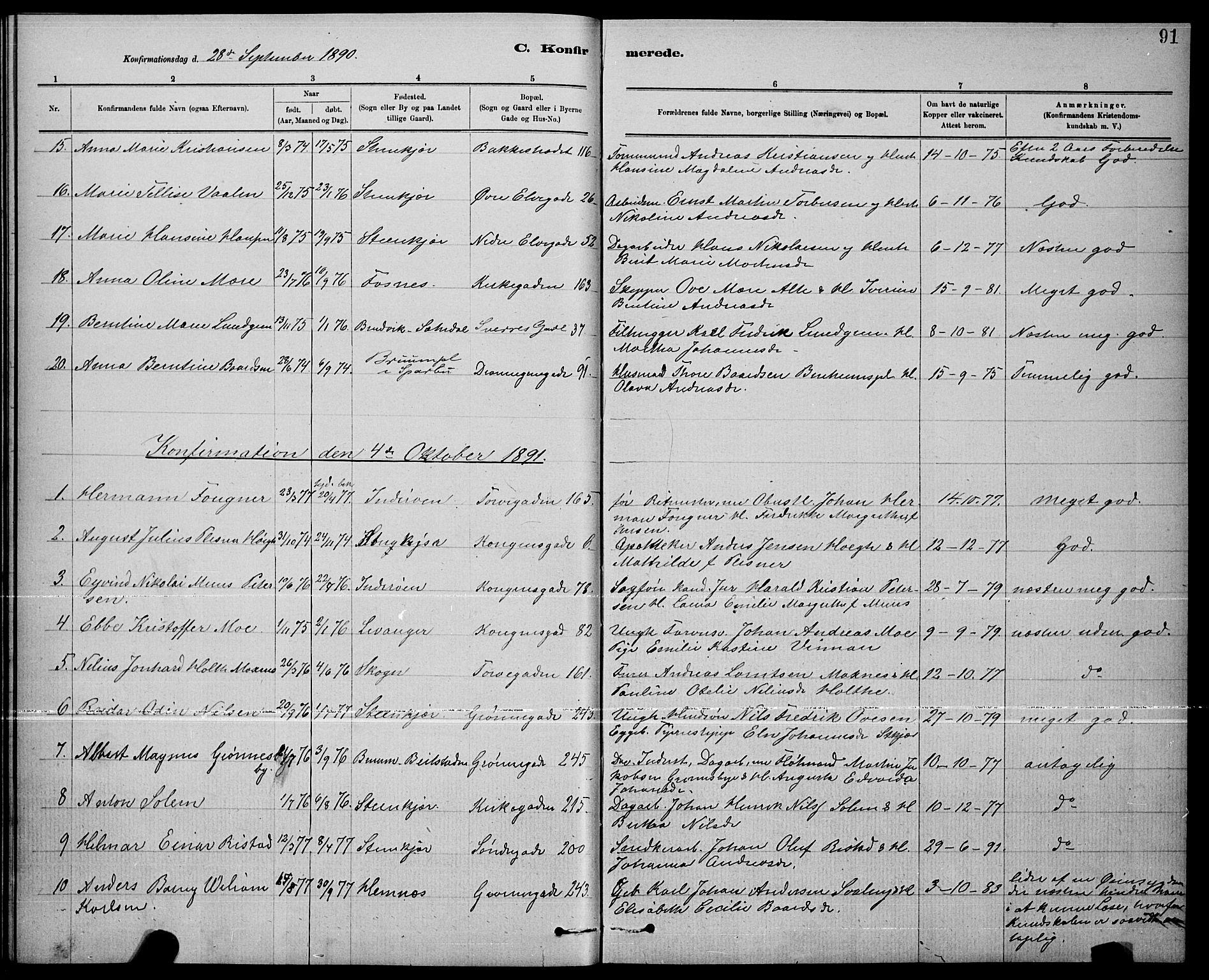 SAT, Ministerialprotokoller, klokkerbøker og fødselsregistre - Nord-Trøndelag, 739/L0374: Klokkerbok nr. 739C02, 1883-1898, s. 91