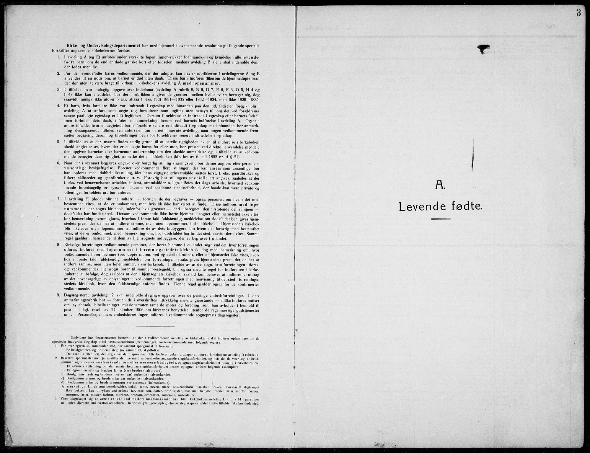 SAH, Nordre Land prestekontor, Klokkerbok nr. 2, 1909-1934, s. 3