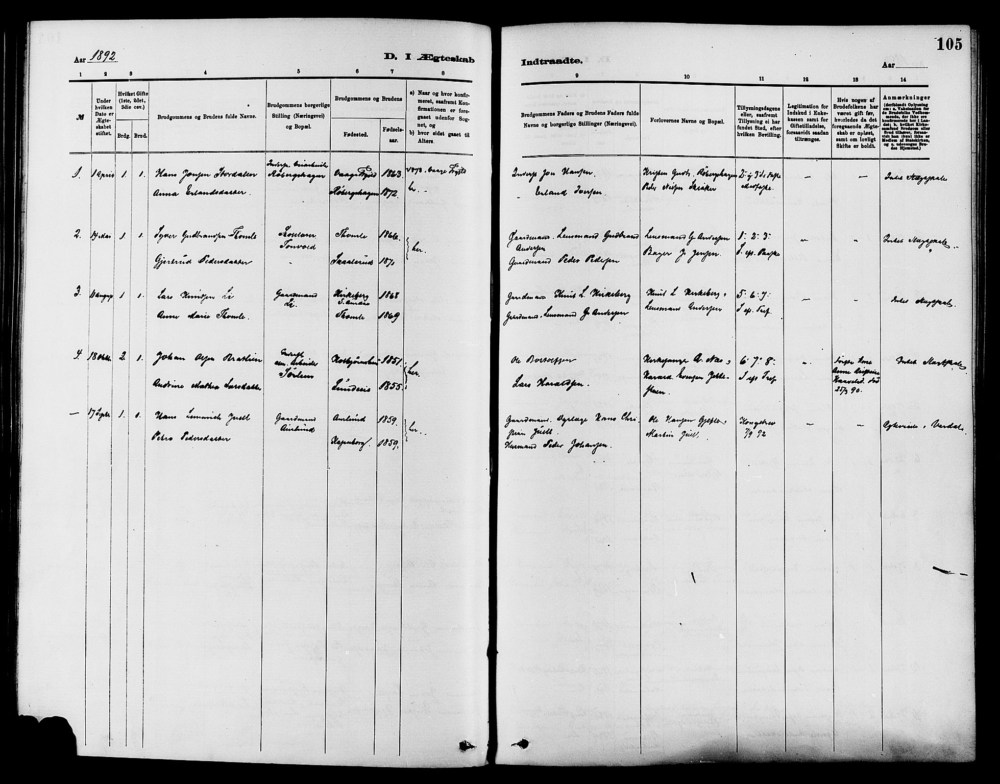 SAH, Nordre Land prestekontor, Ministerialbok nr. 3, 1882-1896, s. 105