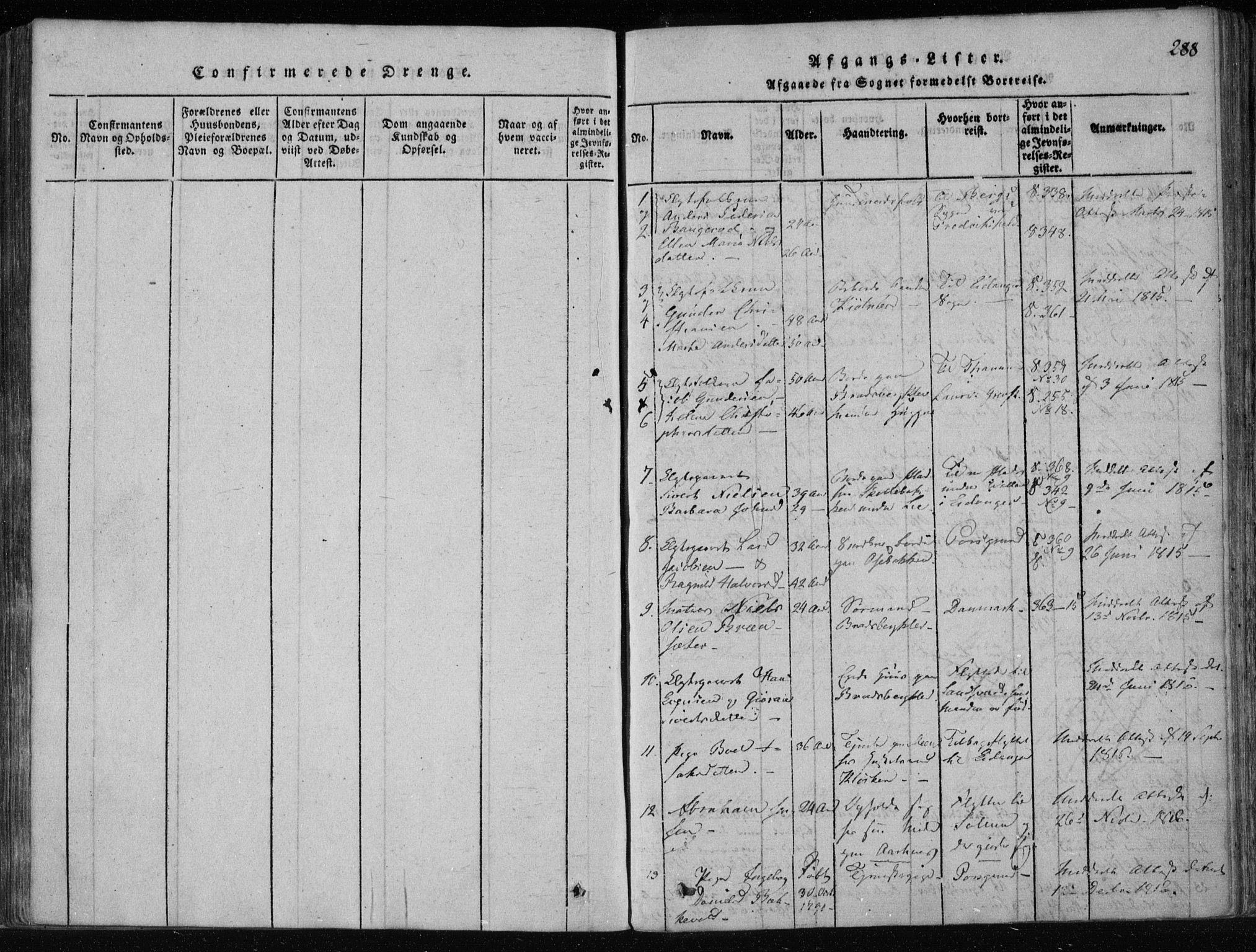SAKO, Gjerpen kirkebøker, F/Fa/L0004: Ministerialbok nr. 4, 1814-1823, s. 288