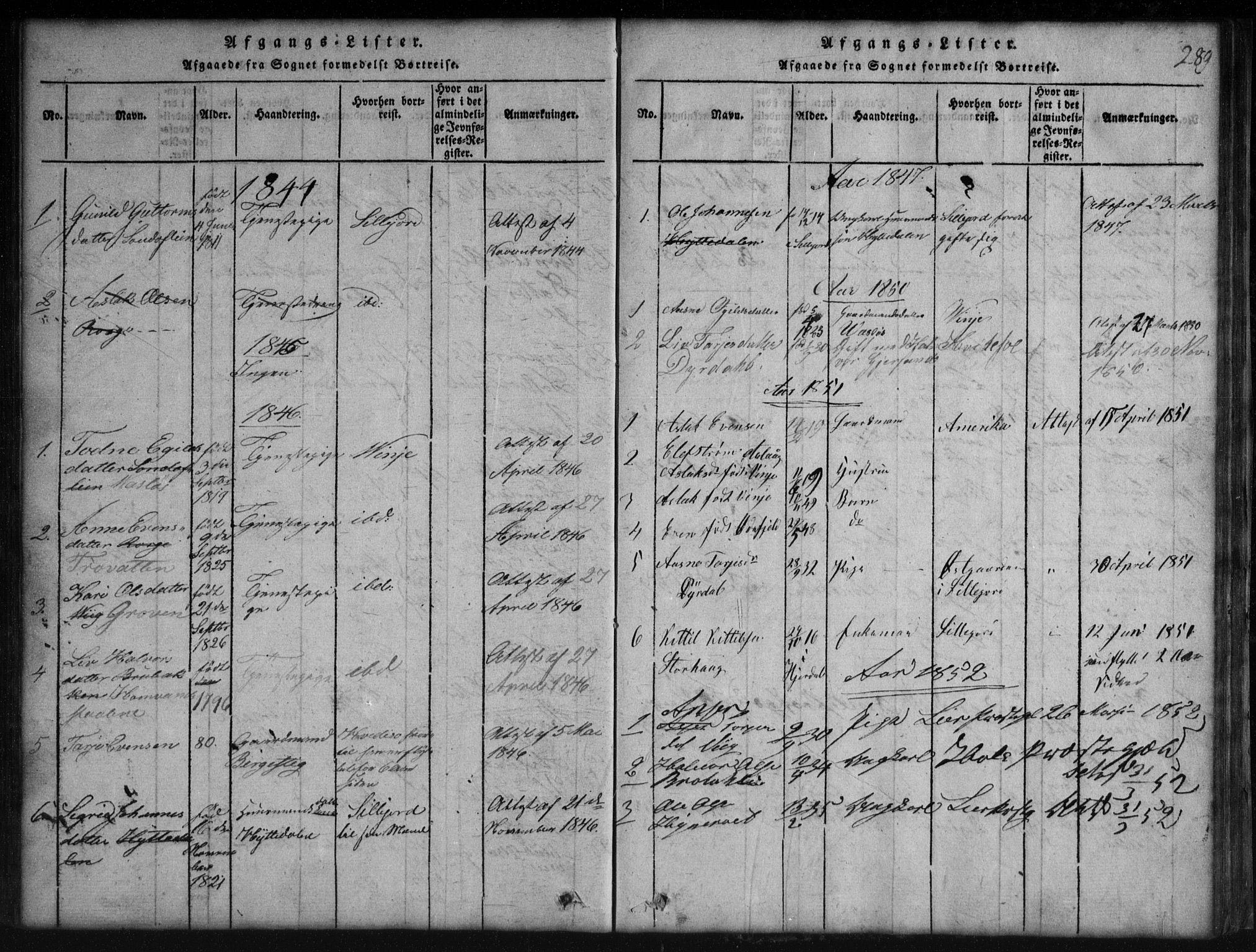 SAKO, Rauland kirkebøker, G/Gb/L0001: Klokkerbok nr. II 1, 1815-1886, s. 289