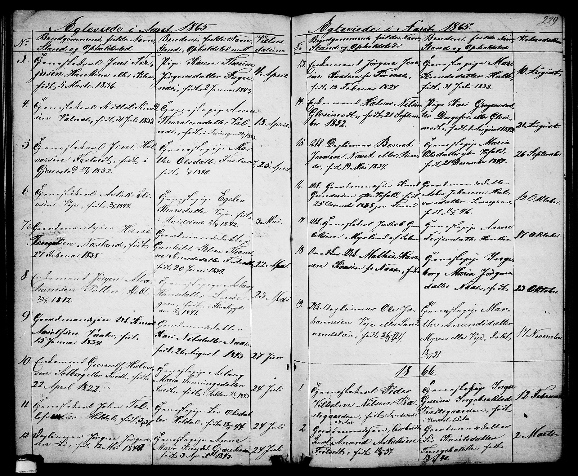 SAKO, Drangedal kirkebøker, G/Ga/L0002: Klokkerbok nr. I 2, 1856-1887, s. 229
