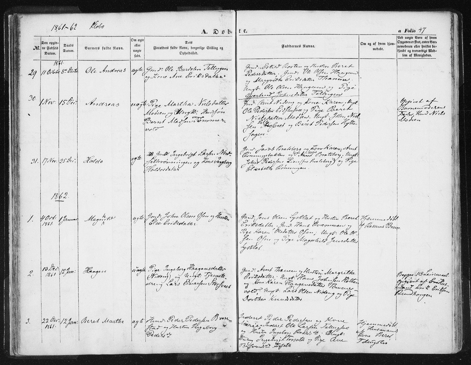 SAT, Ministerialprotokoller, klokkerbøker og fødselsregistre - Sør-Trøndelag, 618/L0441: Ministerialbok nr. 618A05, 1843-1862, s. 47