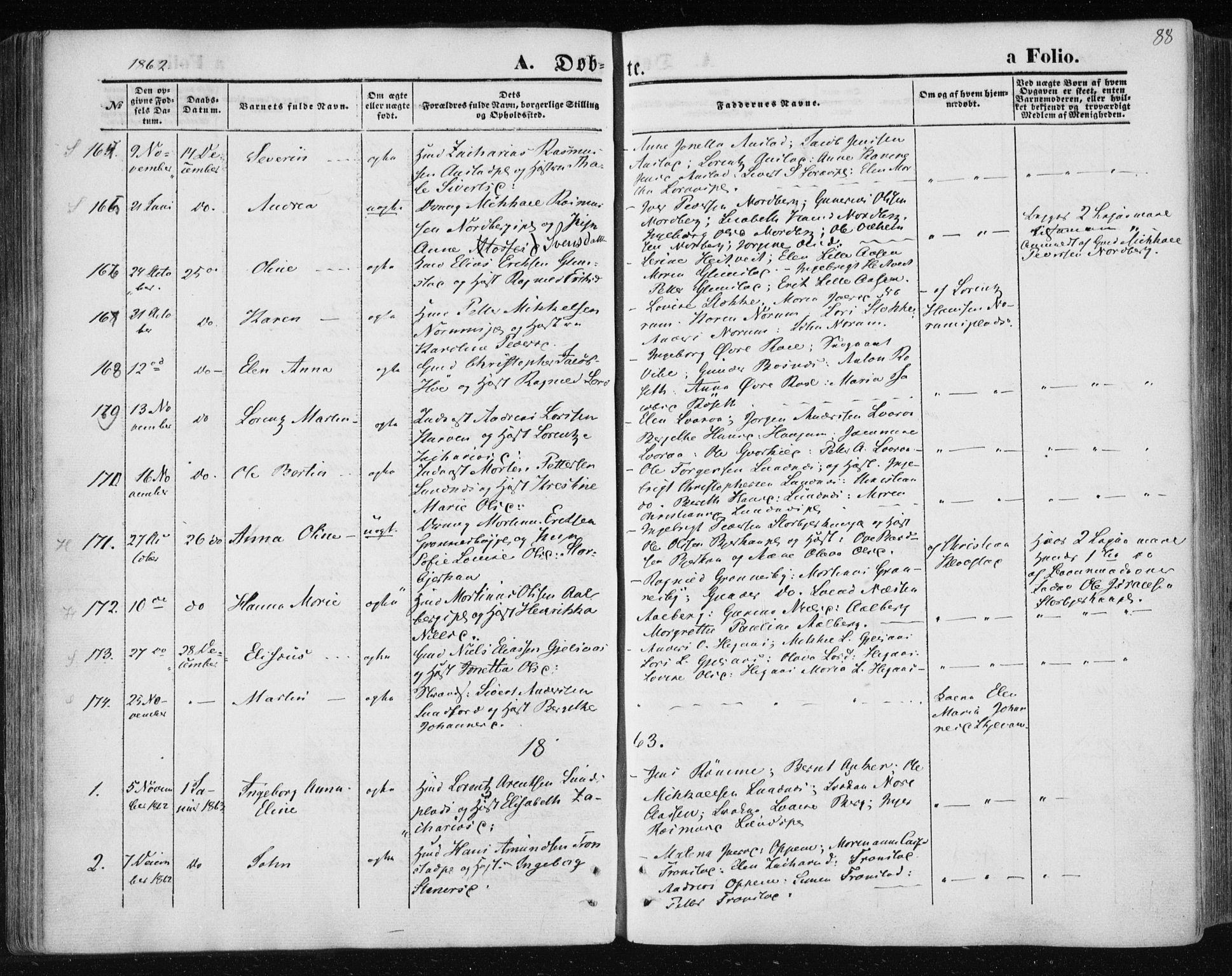 SAT, Ministerialprotokoller, klokkerbøker og fødselsregistre - Nord-Trøndelag, 730/L0283: Ministerialbok nr. 730A08, 1855-1865, s. 88