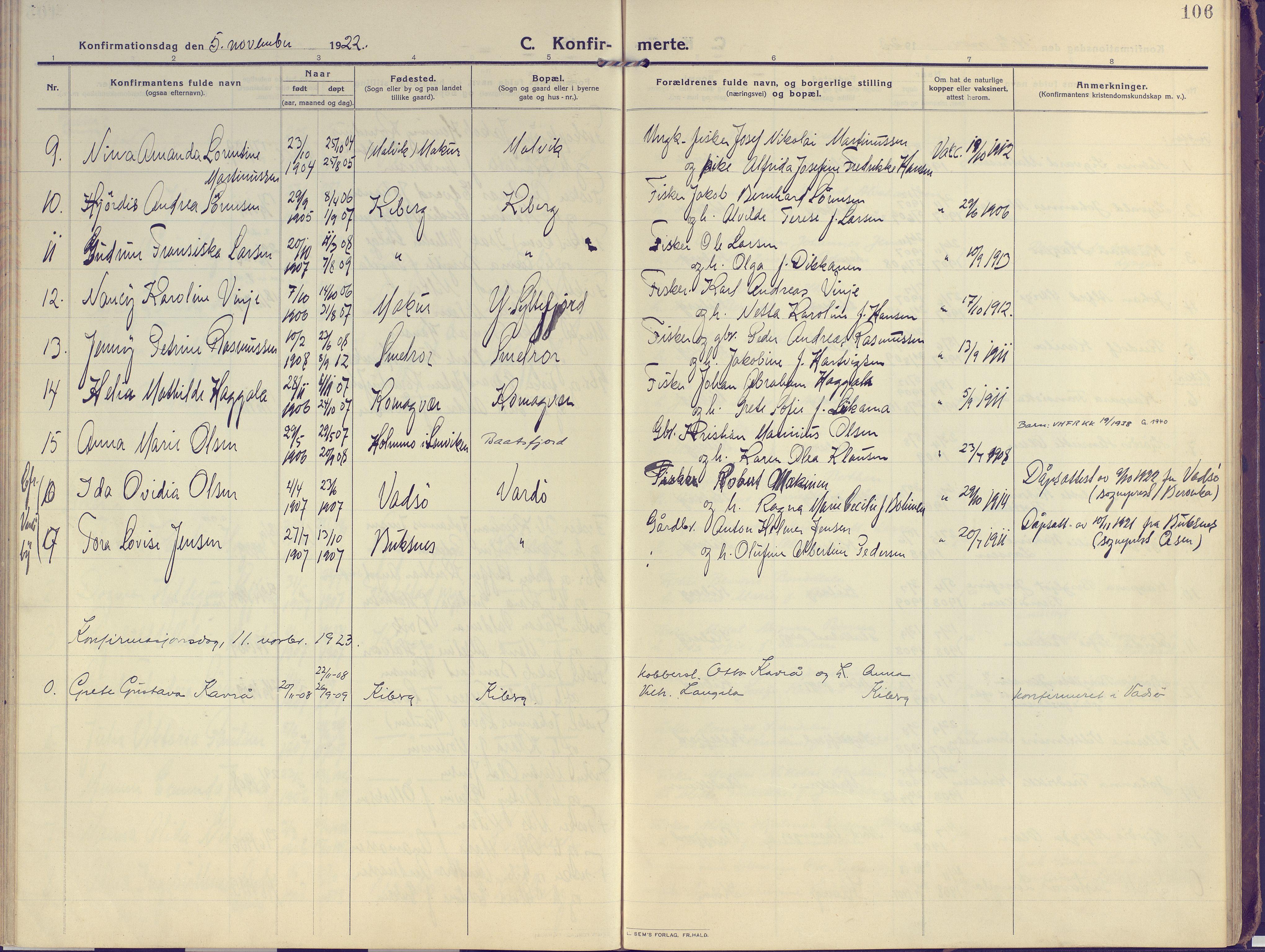 SATØ, Vardø sokneprestkontor, H/Ha/L0013kirke: Ministerialbok nr. 13, 1912-1928, s. 106