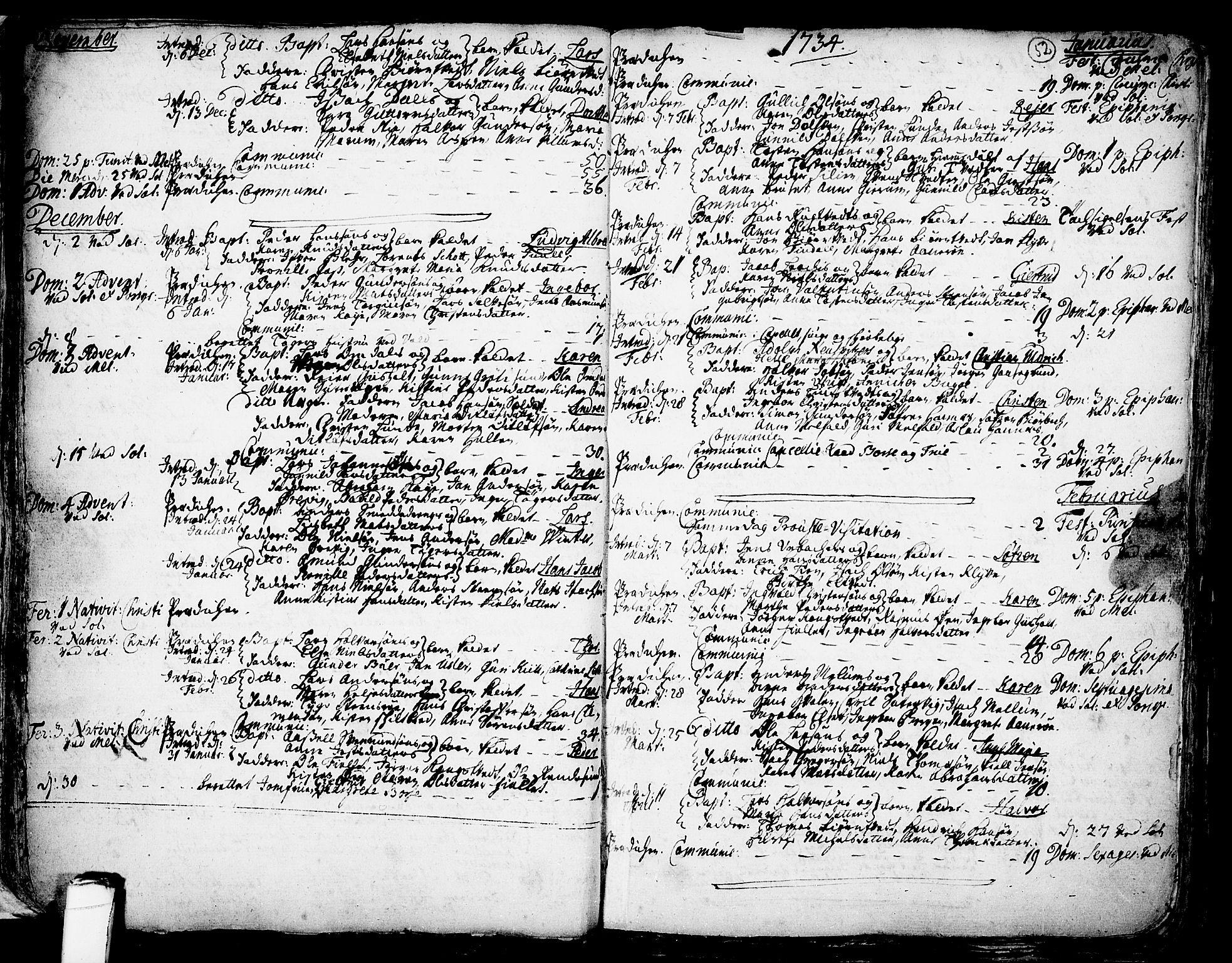 SAKO, Solum kirkebøker, F/Fa/L0002: Ministerialbok nr. I 2, 1713-1761, s. 52