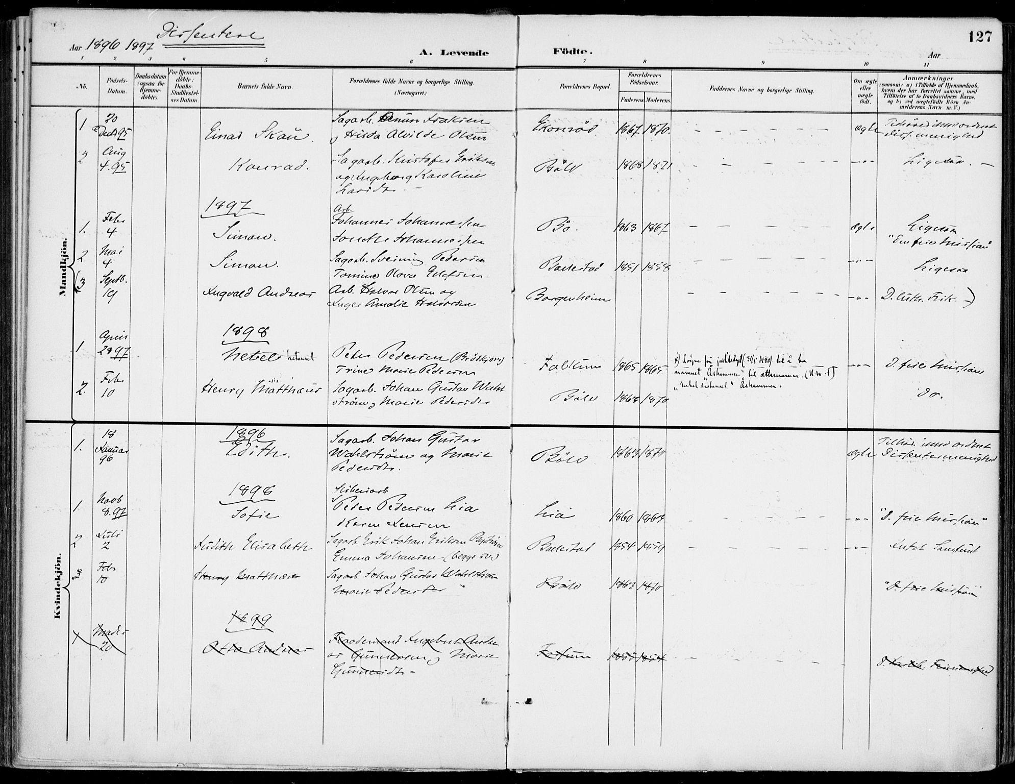 SAKO, Gjerpen kirkebøker, F/Fa/L0011: Ministerialbok nr. 11, 1896-1904, s. 127