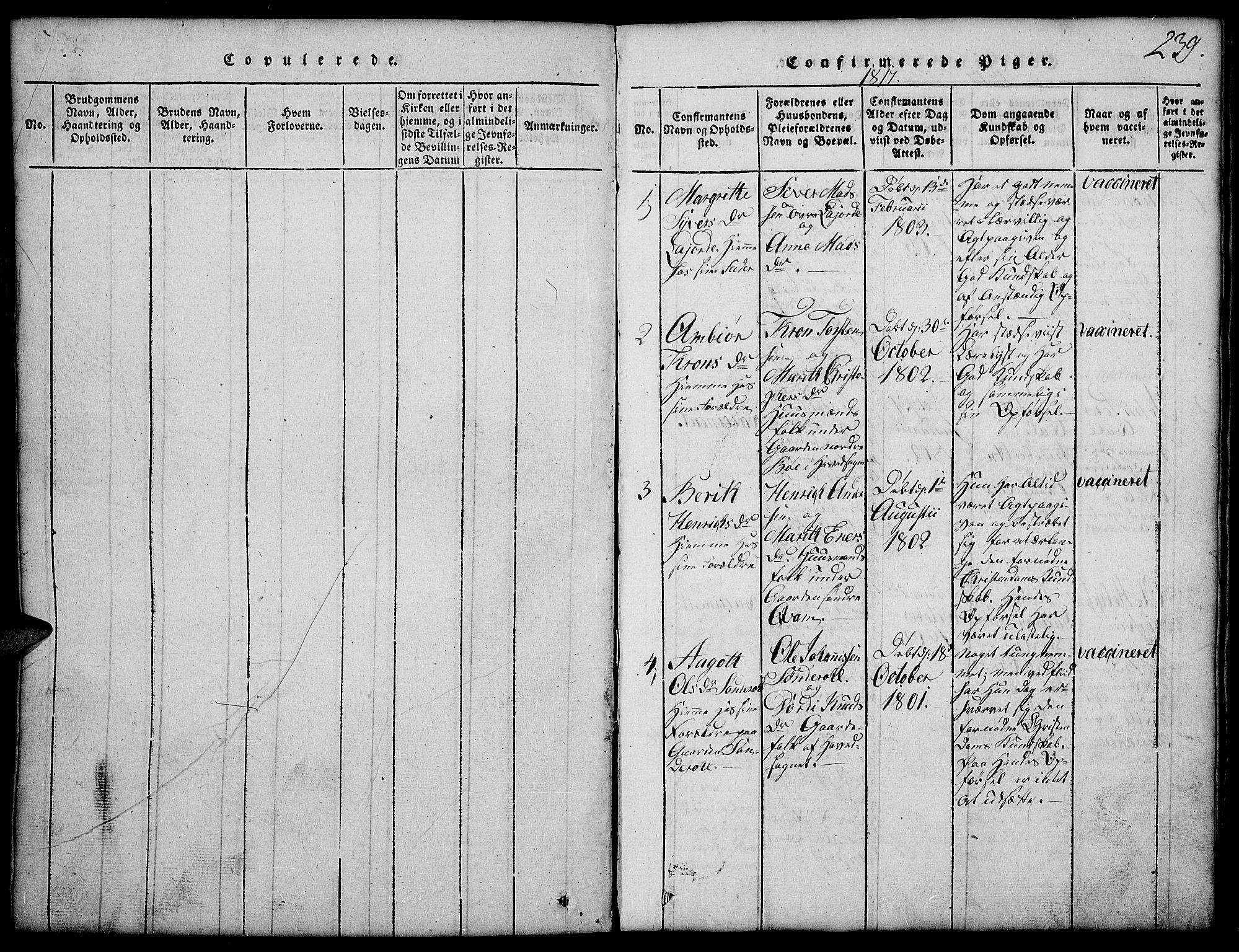 SAH, Vang prestekontor, Valdres, Klokkerbok nr. 2, 1814-1889, s. 239