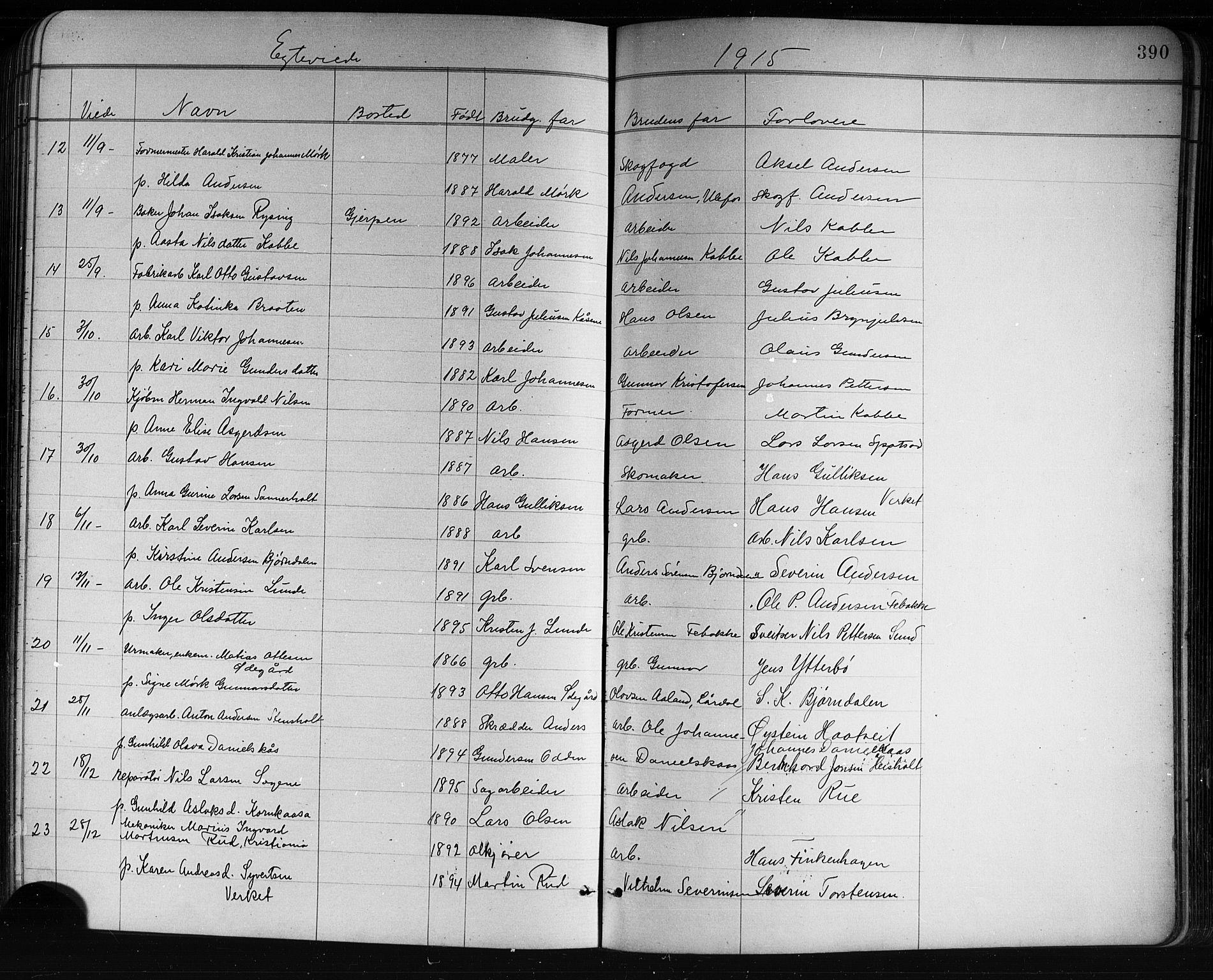 SAKO, Holla kirkebøker, G/Ga/L0005: Klokkerbok nr. I 5, 1891-1917, s. 390