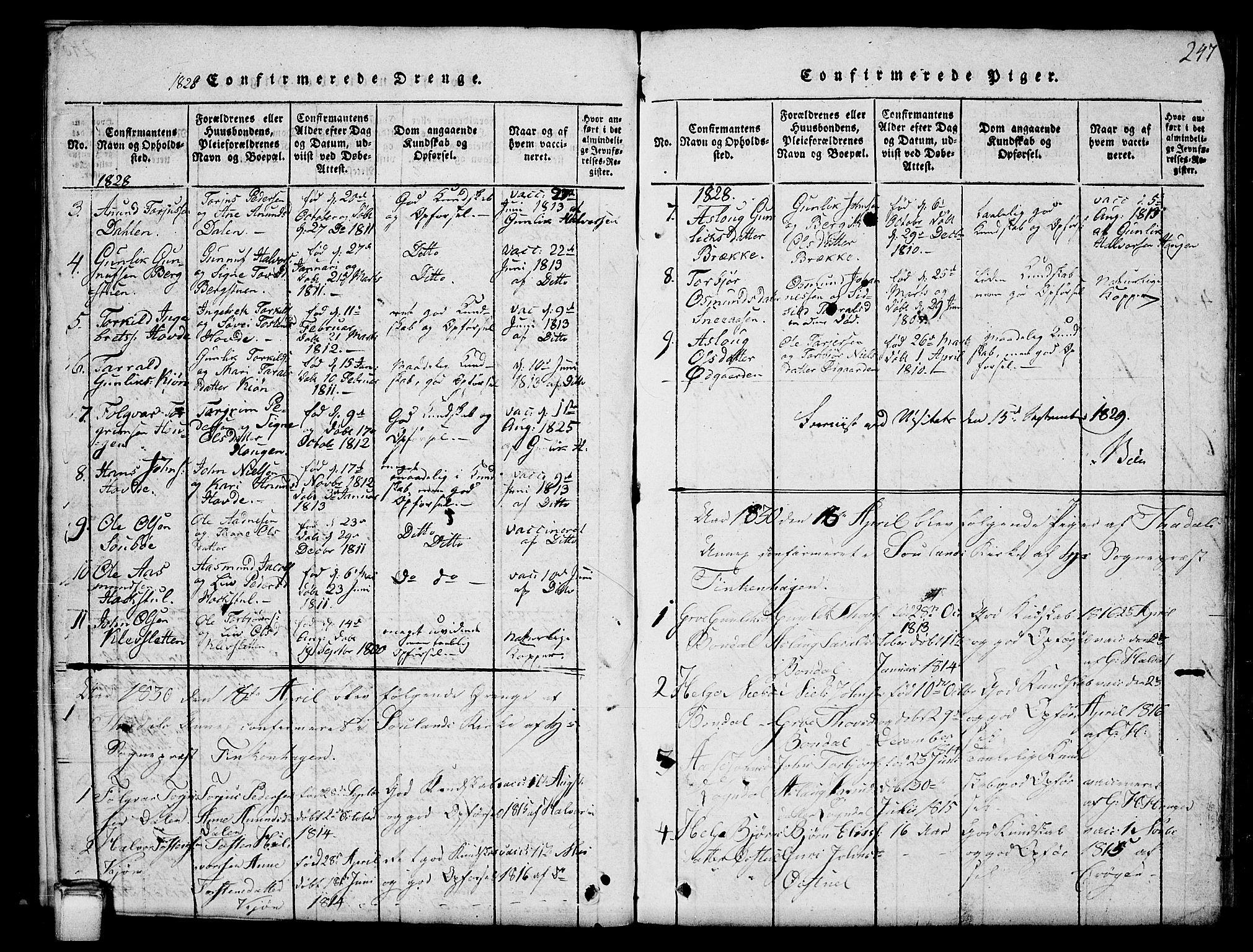 SAKO, Hjartdal kirkebøker, G/Gc/L0001: Klokkerbok nr. III 1, 1815-1842, s. 247