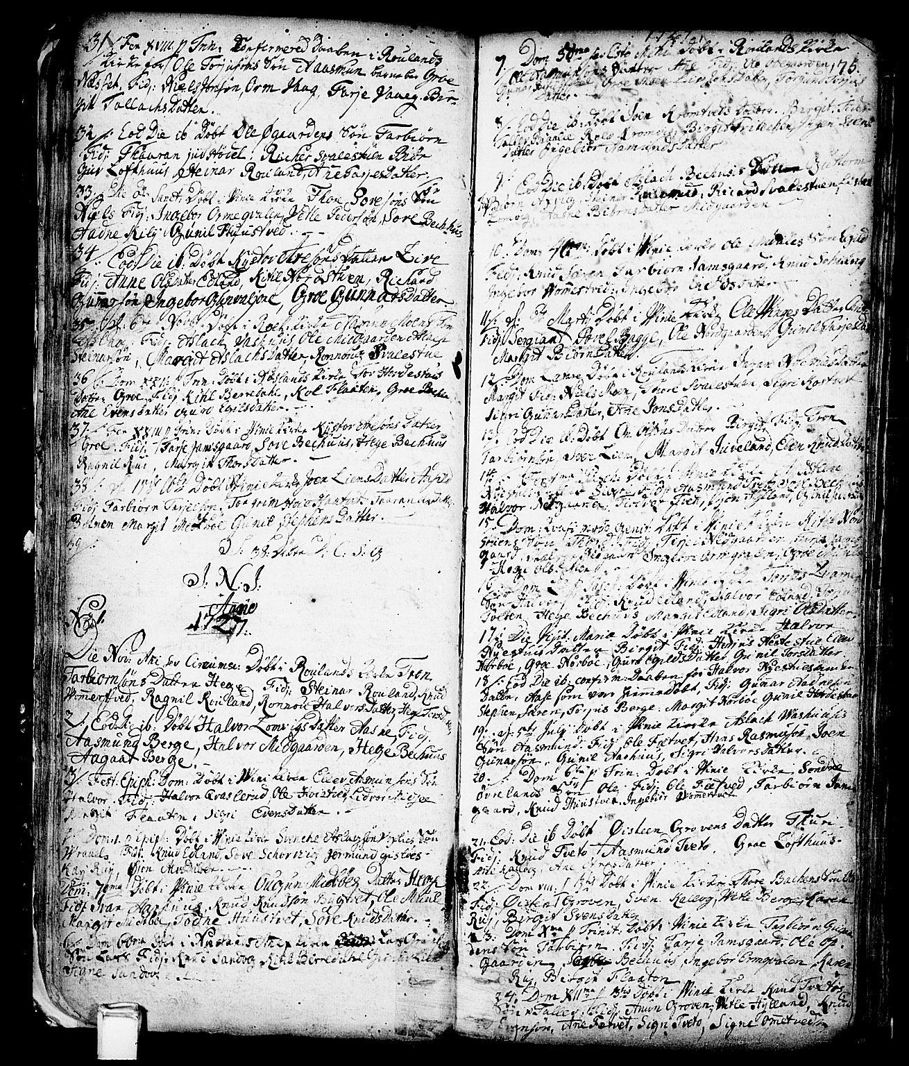 SAKO, Vinje kirkebøker, F/Fa/L0001: Ministerialbok nr. I 1, 1717-1766, s. 75