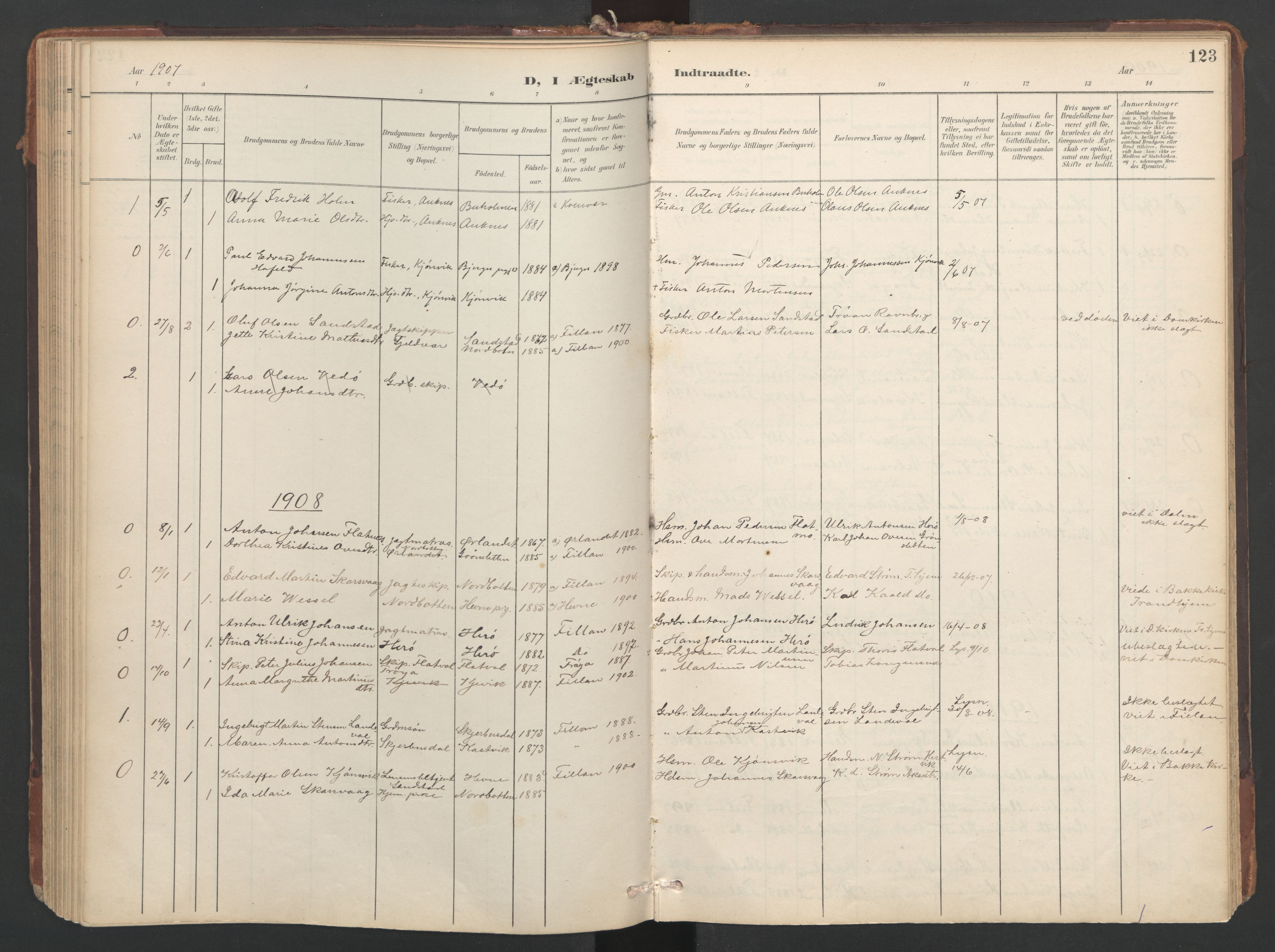 SAT, Ministerialprotokoller, klokkerbøker og fødselsregistre - Sør-Trøndelag, 638/L0568: Ministerialbok nr. 638A01, 1901-1916, s. 123