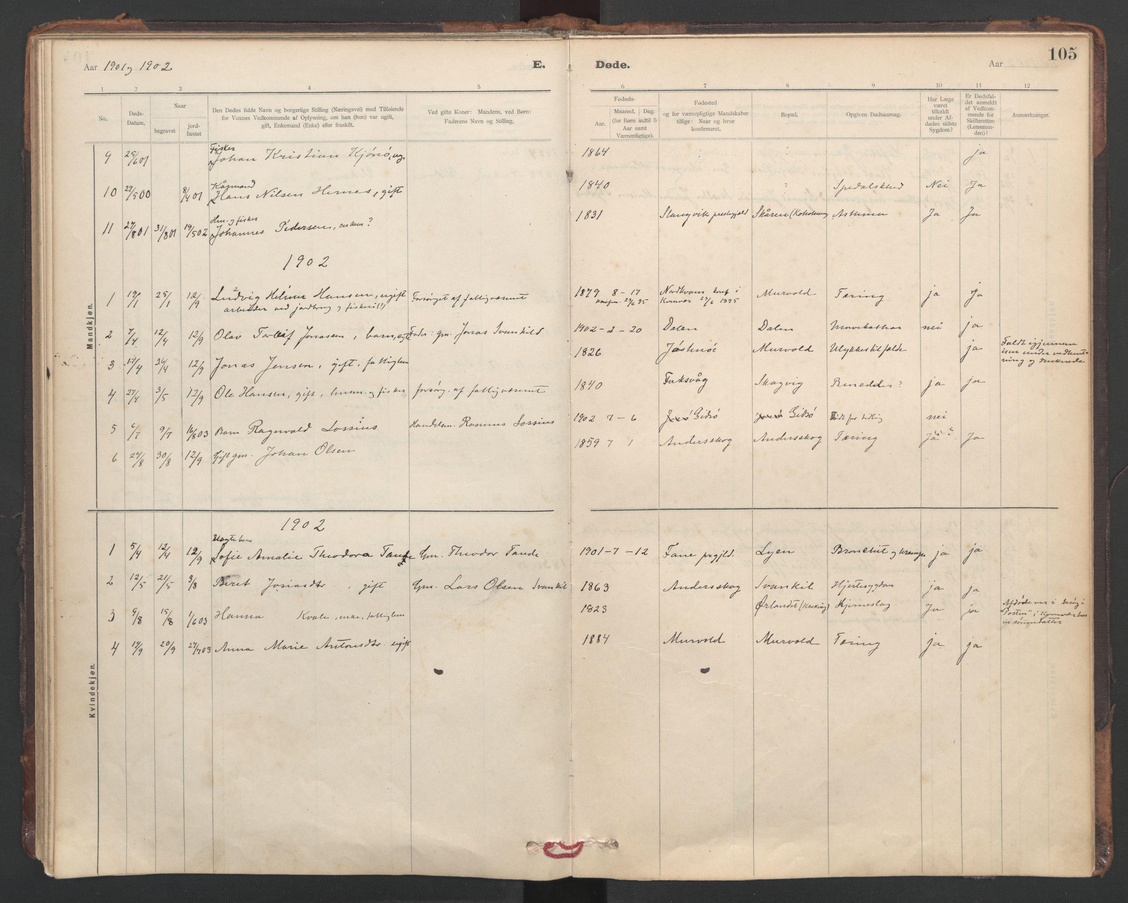 SAT, Ministerialprotokoller, klokkerbøker og fødselsregistre - Sør-Trøndelag, 635/L0552: Ministerialbok nr. 635A02, 1899-1919, s. 105
