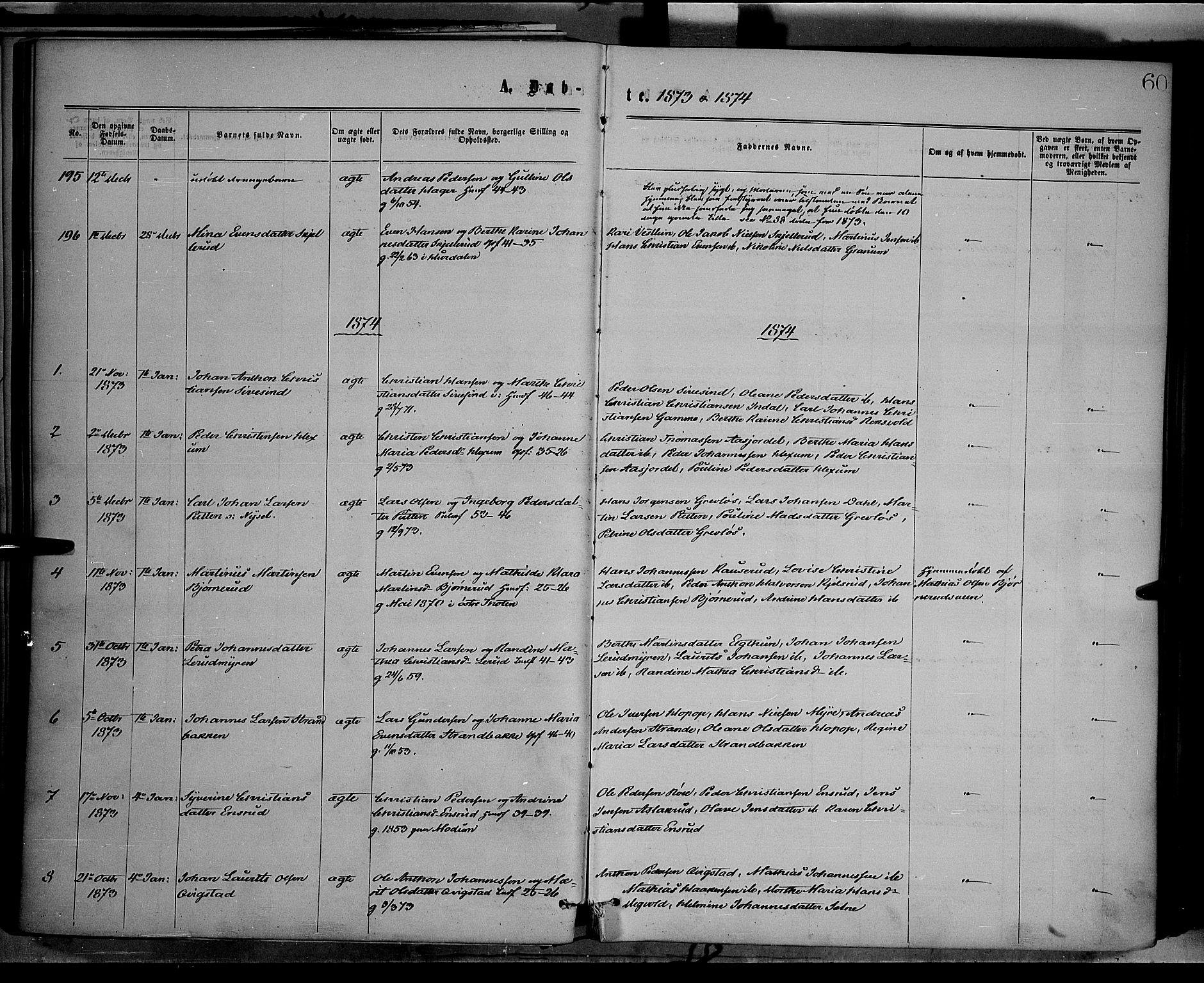 SAH, Vestre Toten prestekontor, H/Ha/Haa/L0008: Ministerialbok nr. 8, 1870-1877, s. 60