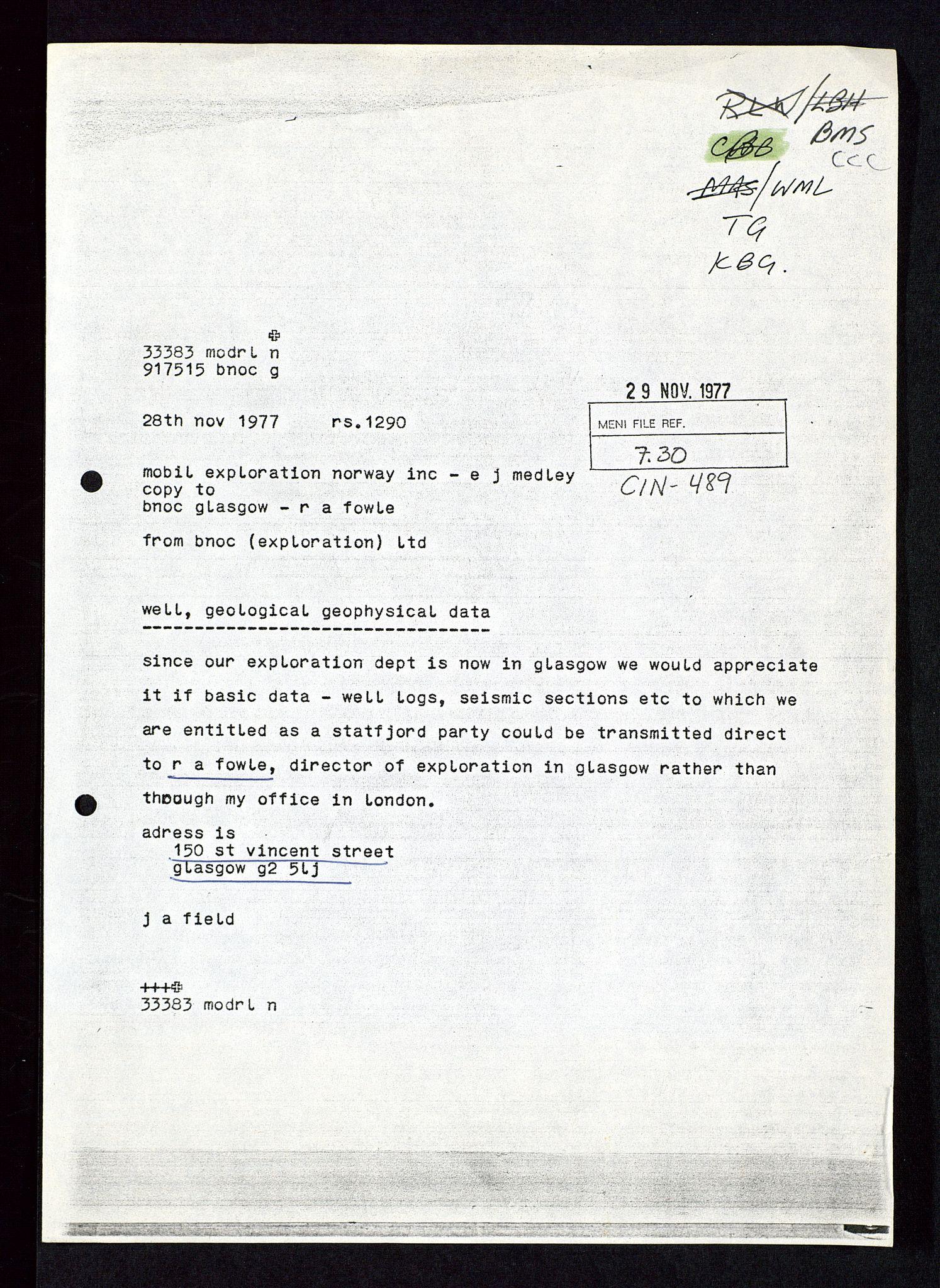 SAST, Pa 1578 - Mobil Exploration Norway Incorporated, D/Da/L0115: S.E. Smith - Sak og korrespondanse, 1974-1981, s. 10