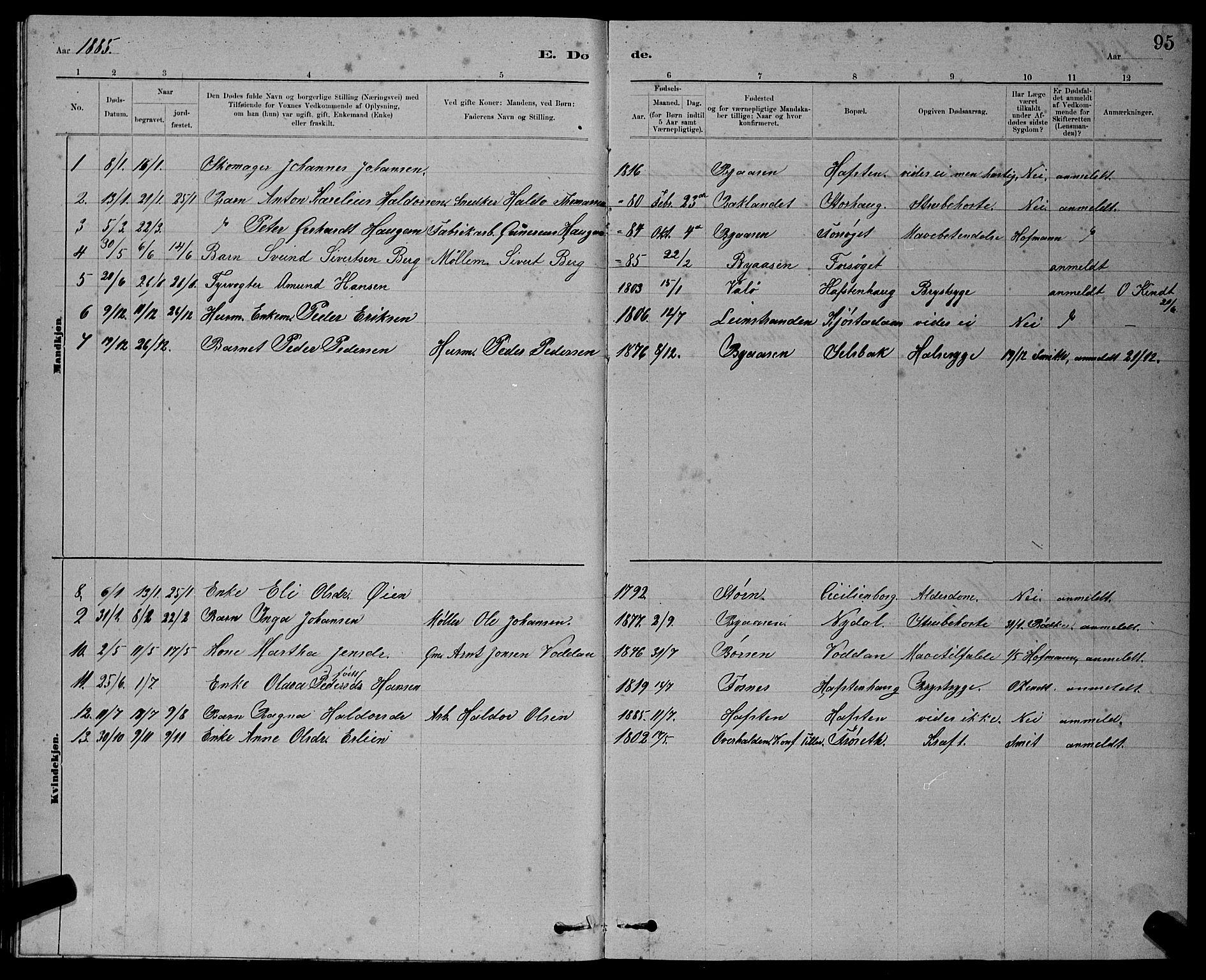 SAT, Ministerialprotokoller, klokkerbøker og fødselsregistre - Sør-Trøndelag, 611/L0354: Klokkerbok nr. 611C02, 1881-1896, s. 95