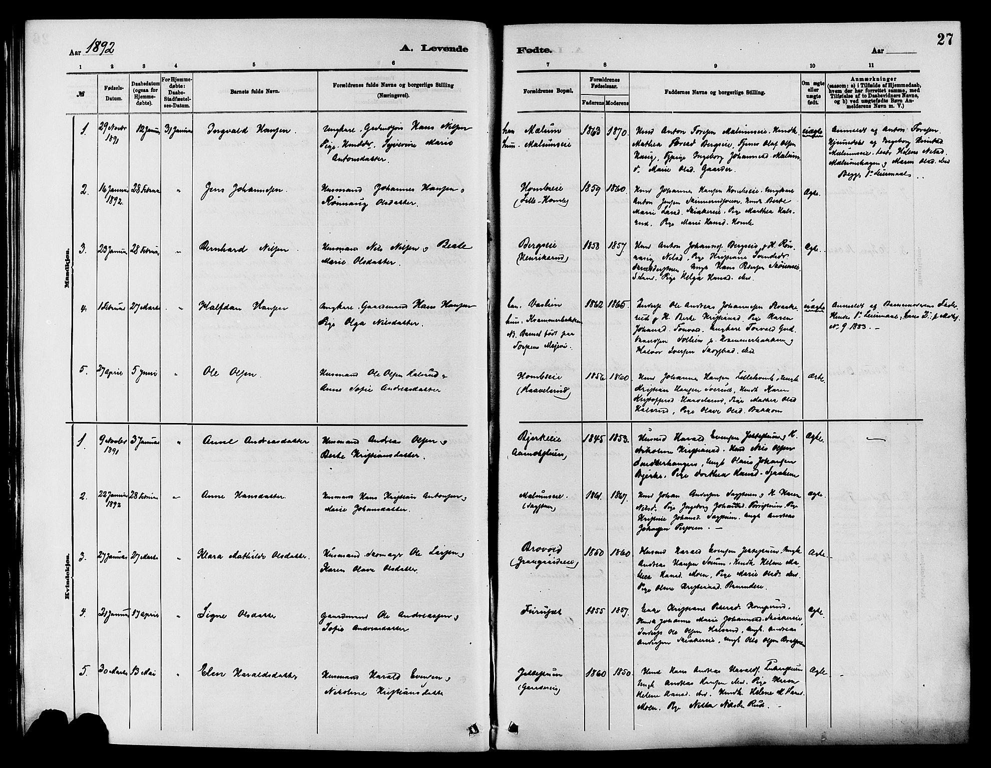 SAH, Nordre Land prestekontor, Ministerialbok nr. 3, 1882-1896, s. 27