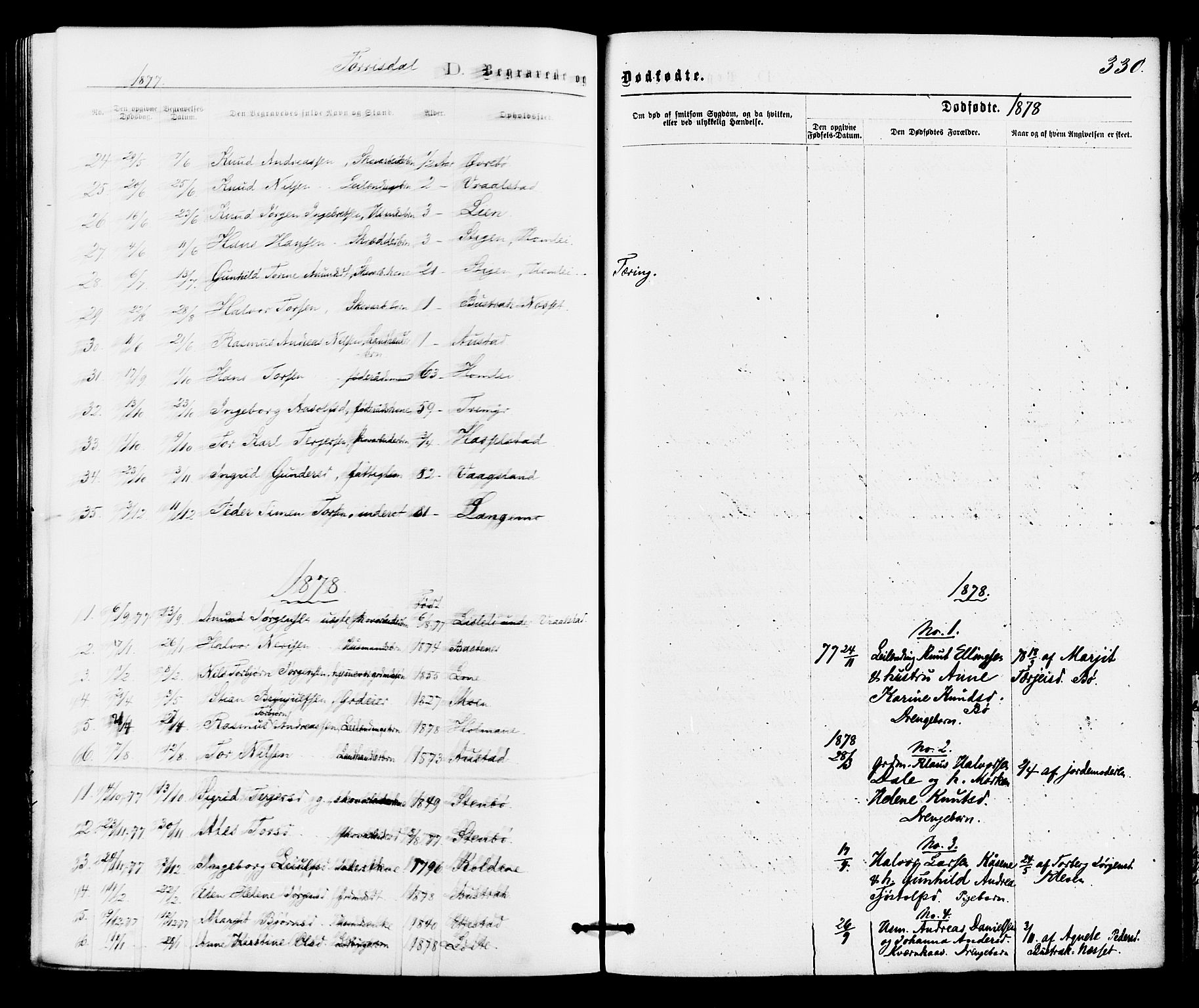 SAKO, Drangedal kirkebøker, F/Fa/L0009: Ministerialbok nr. 9 /2, 1872-1884, s. 330