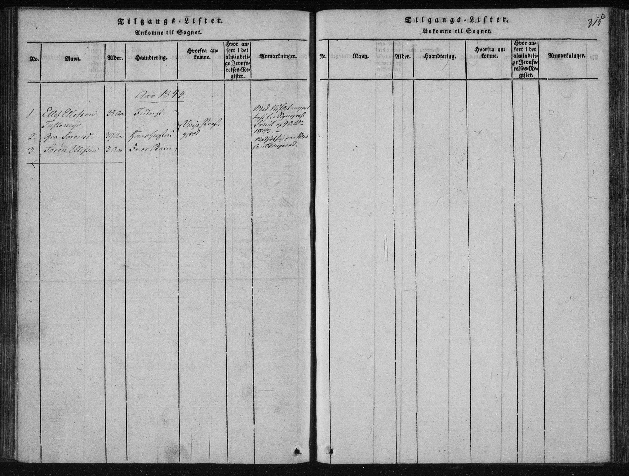 SAKO, Tinn kirkebøker, F/Fc/L0001: Ministerialbok nr. III 1, 1815-1843, s. 315
