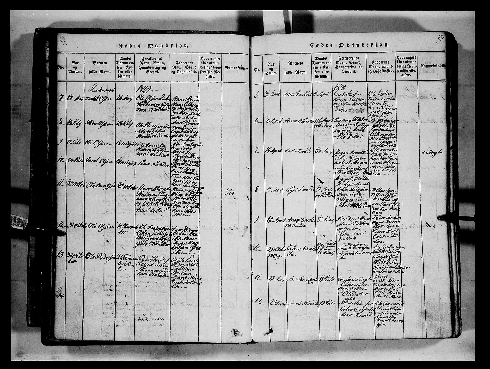 SAH, Fron prestekontor, H/Ha/Hab/L0002: Klokkerbok nr. 2, 1816-1850, s. 62