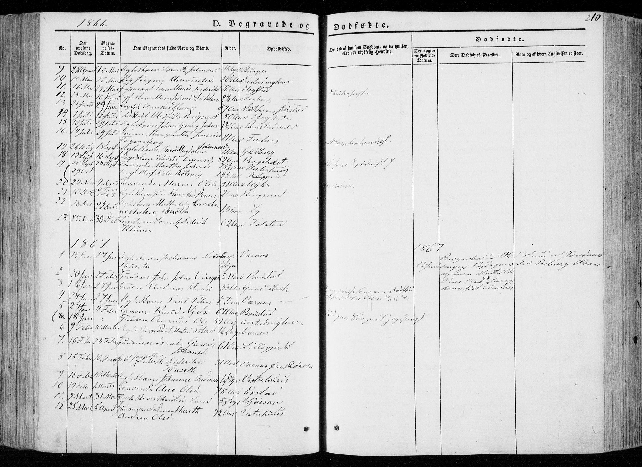 SAT, Ministerialprotokoller, klokkerbøker og fødselsregistre - Nord-Trøndelag, 722/L0218: Ministerialbok nr. 722A05, 1843-1868, s. 210