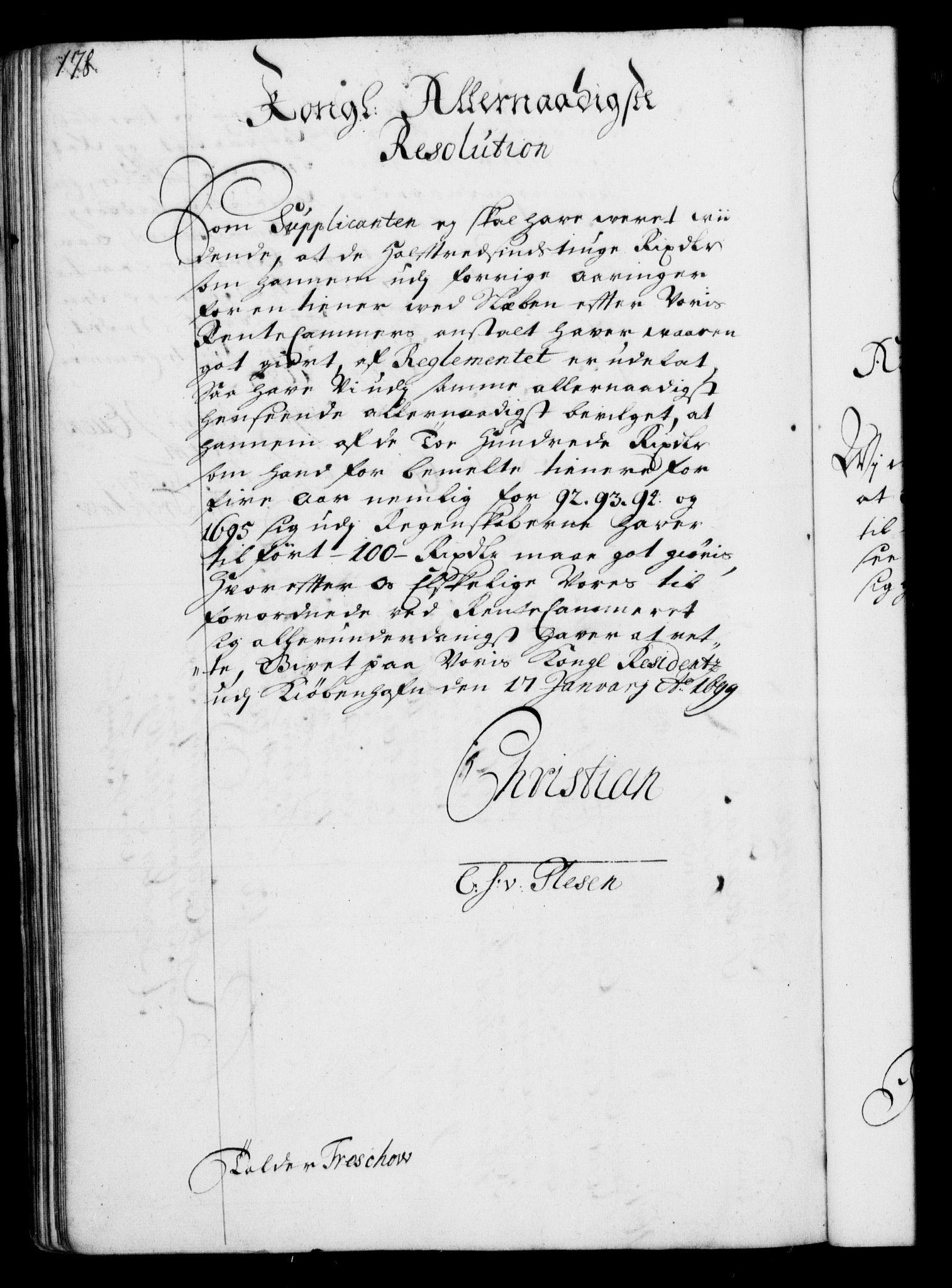 RA, Rentekammeret, Kammerkanselliet, G/Gf/Gfa/L0001: Resolusjonsprotokoll med register (merket RK 52.1), 1695-1706, s. 178