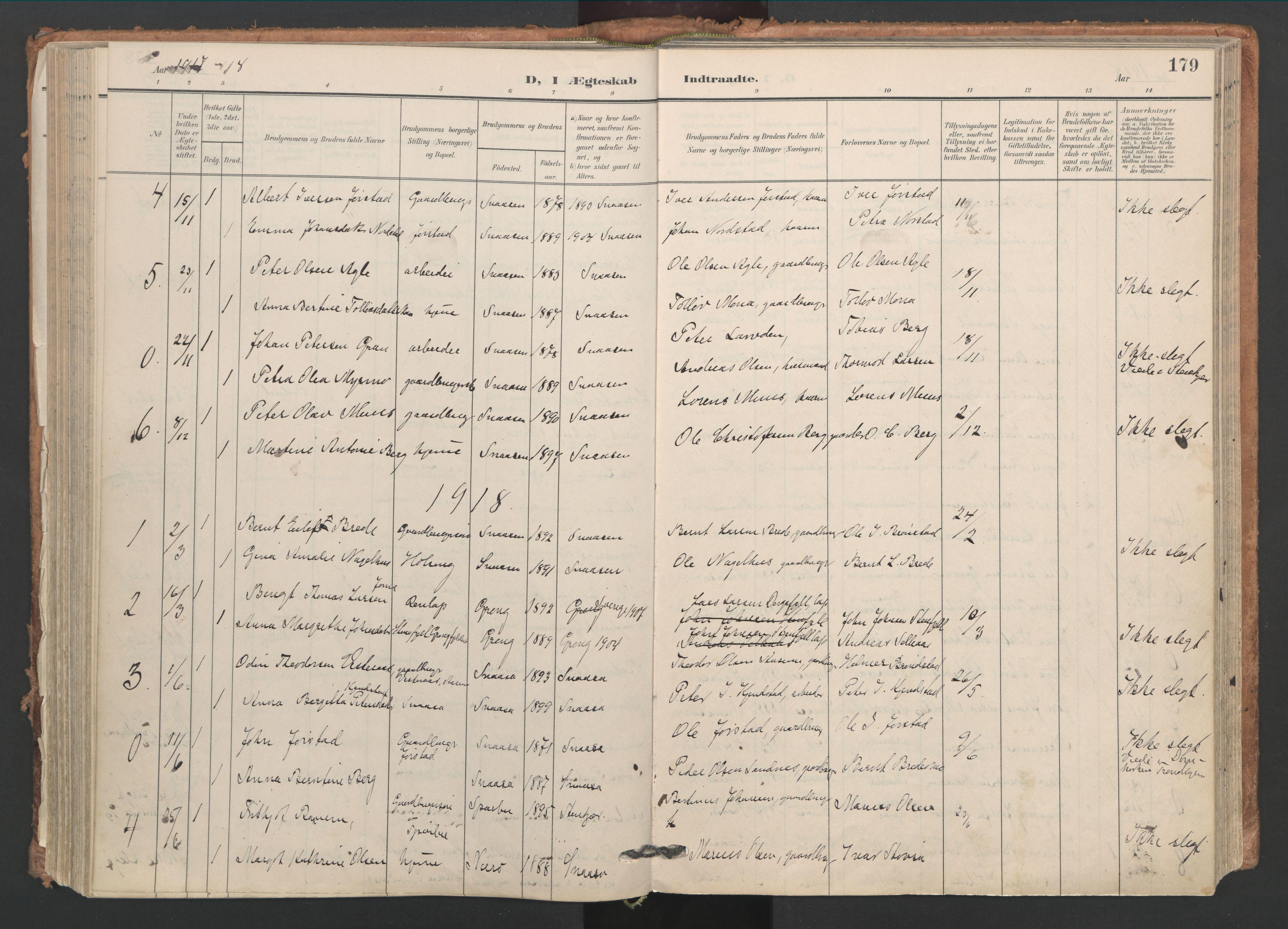SAT, Ministerialprotokoller, klokkerbøker og fødselsregistre - Nord-Trøndelag, 749/L0477: Ministerialbok nr. 749A11, 1902-1927, s. 179