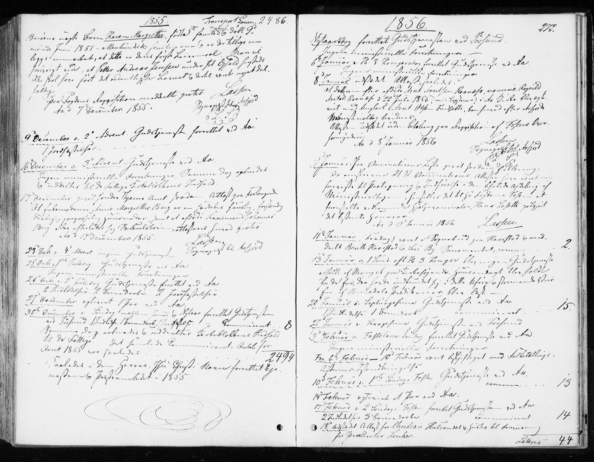 SAT, Ministerialprotokoller, klokkerbøker og fødselsregistre - Sør-Trøndelag, 655/L0677: Ministerialbok nr. 655A06, 1847-1860, s. 272