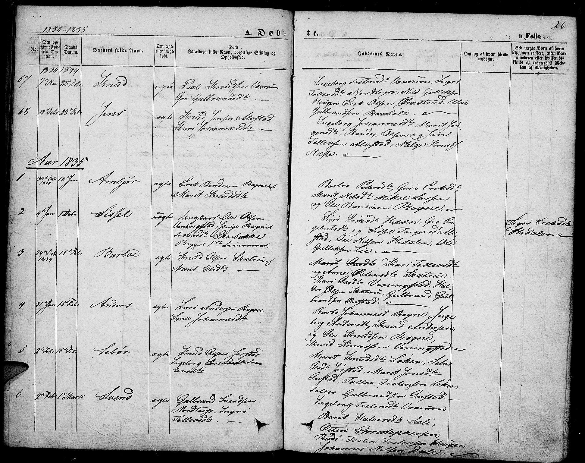 SAH, Slidre prestekontor, Ministerialbok nr. 4, 1831-1848, s. 26