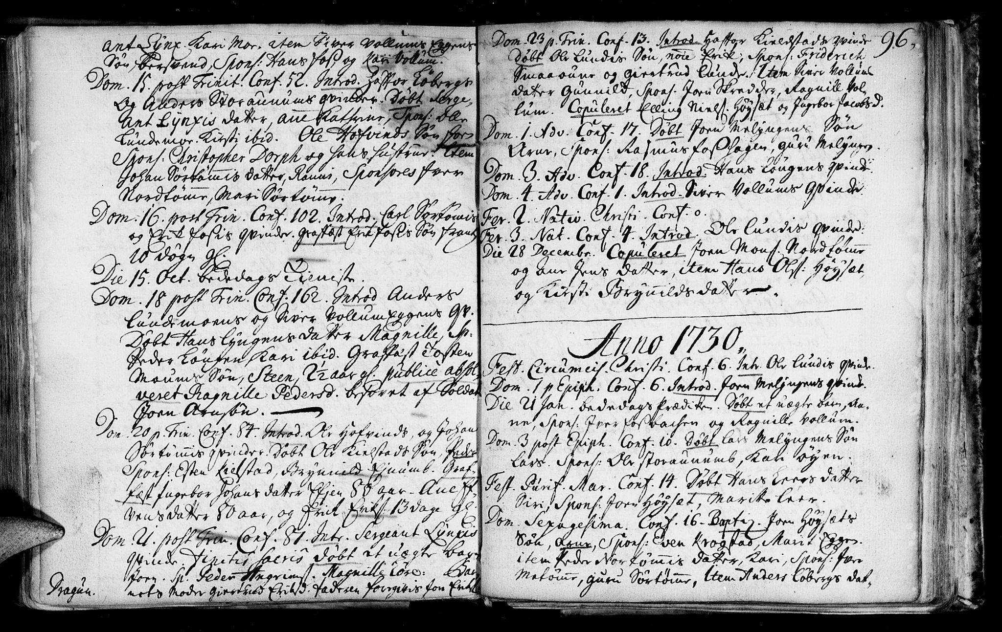 SAT, Ministerialprotokoller, klokkerbøker og fødselsregistre - Sør-Trøndelag, 692/L1101: Ministerialbok nr. 692A01, 1690-1746, s. 96