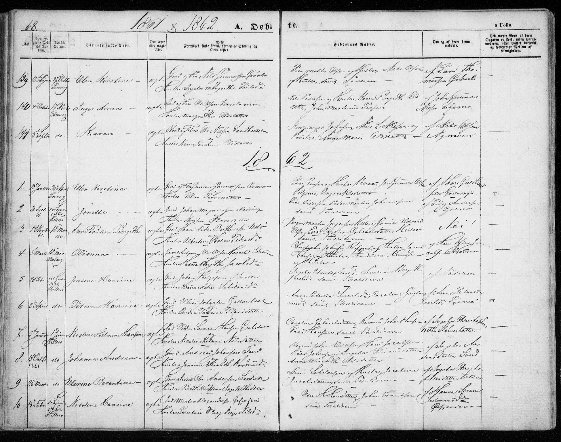 SATØ, Lenvik sokneprestembete, H/Ha: Ministerialbok nr. 7, 1855-1865, s. 68