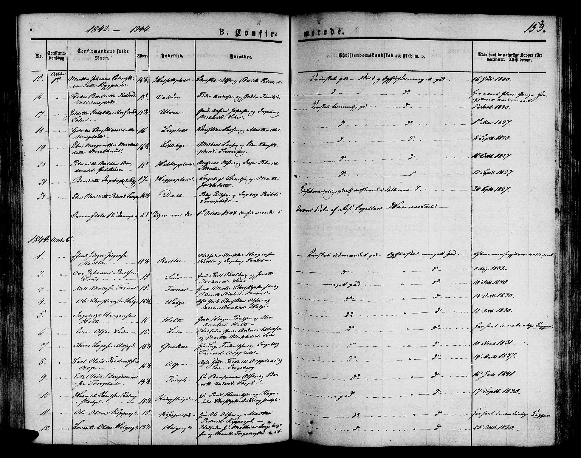 SAT, Ministerialprotokoller, klokkerbøker og fødselsregistre - Nord-Trøndelag, 746/L0445: Ministerialbok nr. 746A04, 1826-1846, s. 153