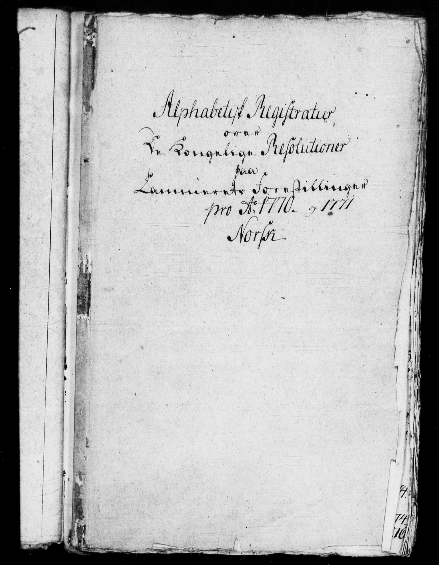 RA, Rentekammeret, Kammerkanselliet, G/Gf/Gfb/L0007: Register til norske relasjons- og resolusjonsprotokoller (merket RK 52.102), 1765-1771, s. 356