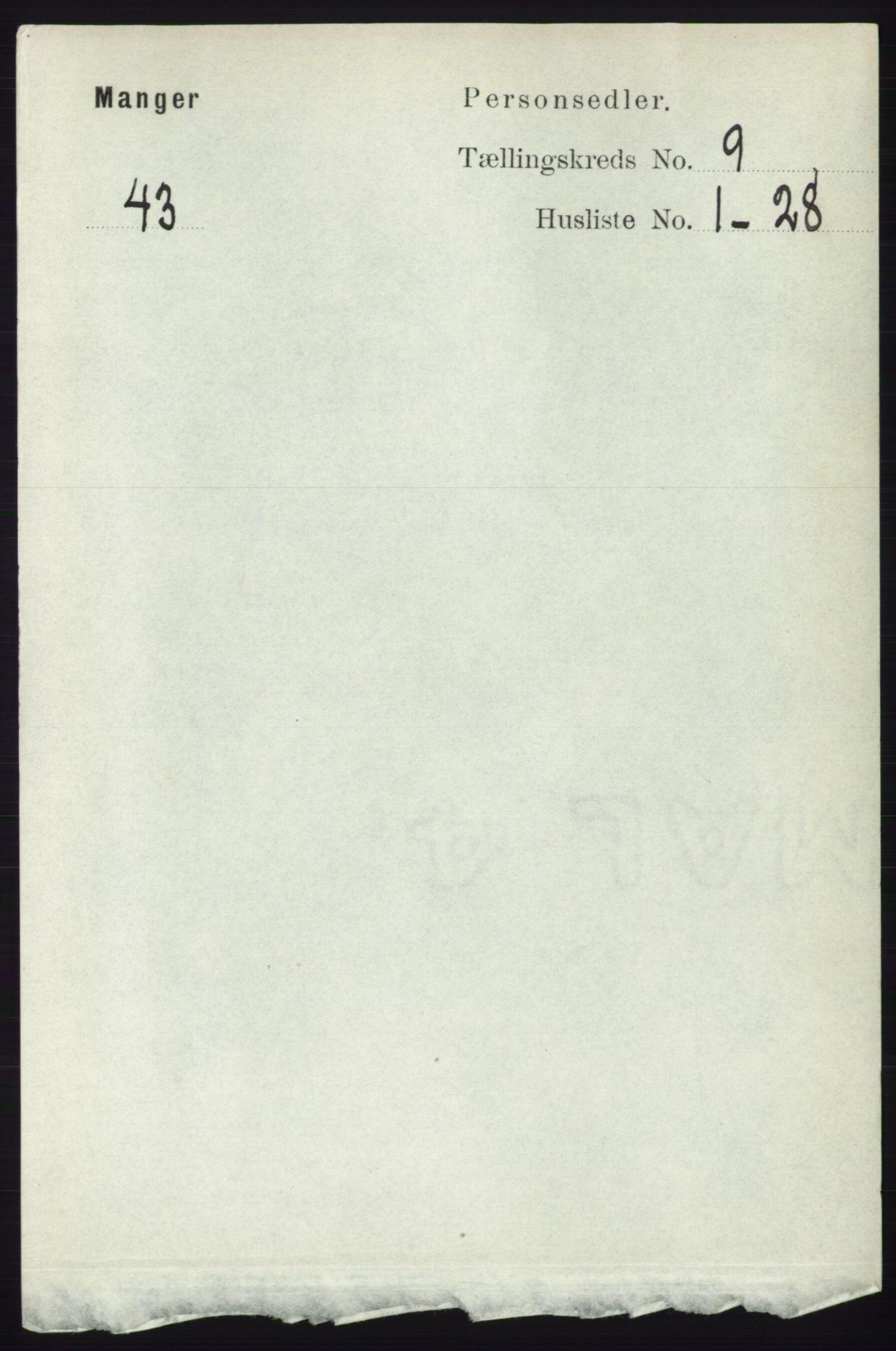 RA, Folketelling 1891 for 1261 Manger herred, 1891, s. 5699