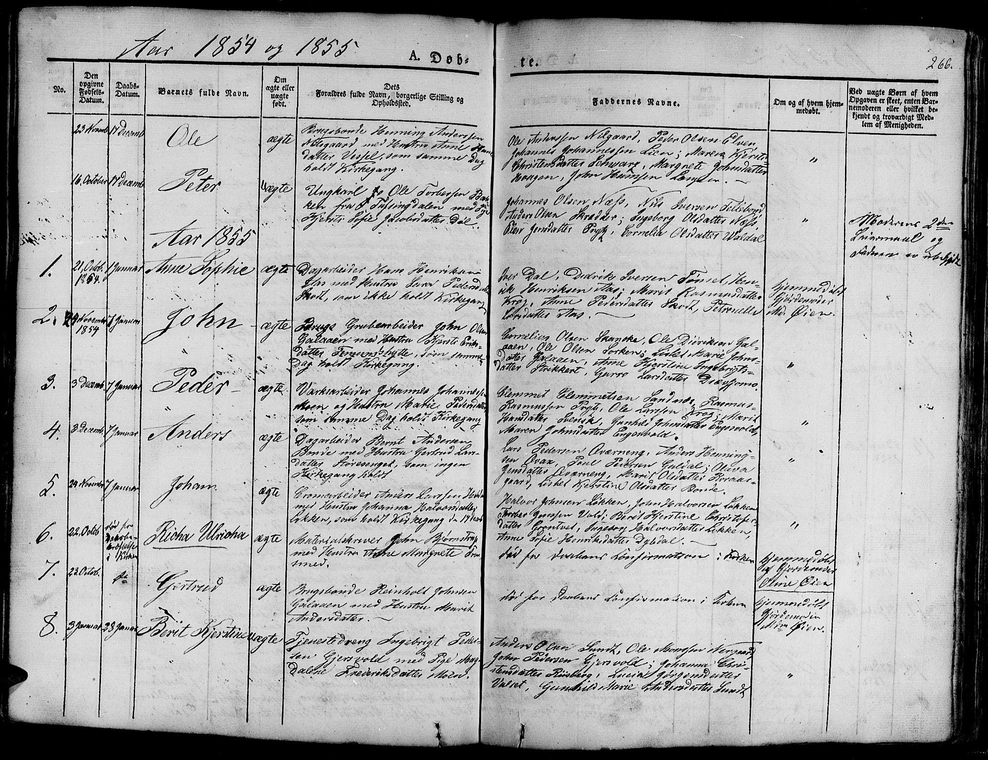 SAT, Ministerialprotokoller, klokkerbøker og fødselsregistre - Sør-Trøndelag, 681/L0938: Klokkerbok nr. 681C02, 1829-1879, s. 266