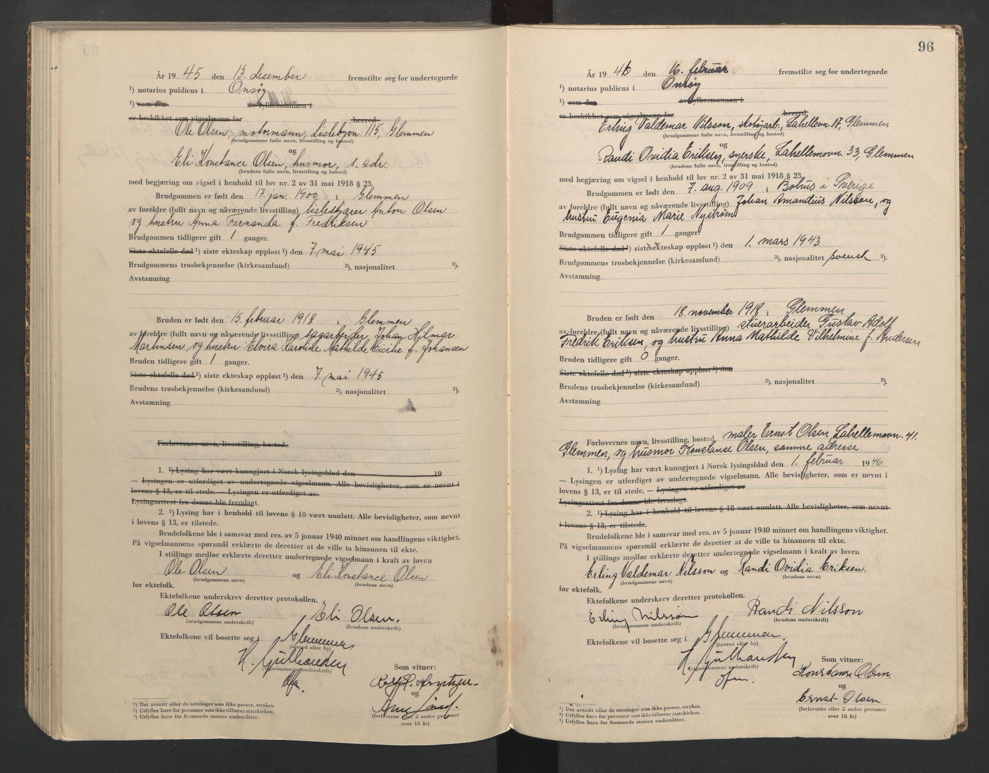 SAO, Onsøy sorenskriveri, L/La/L0005: Vigselsbok, 1944-1946, s. 96