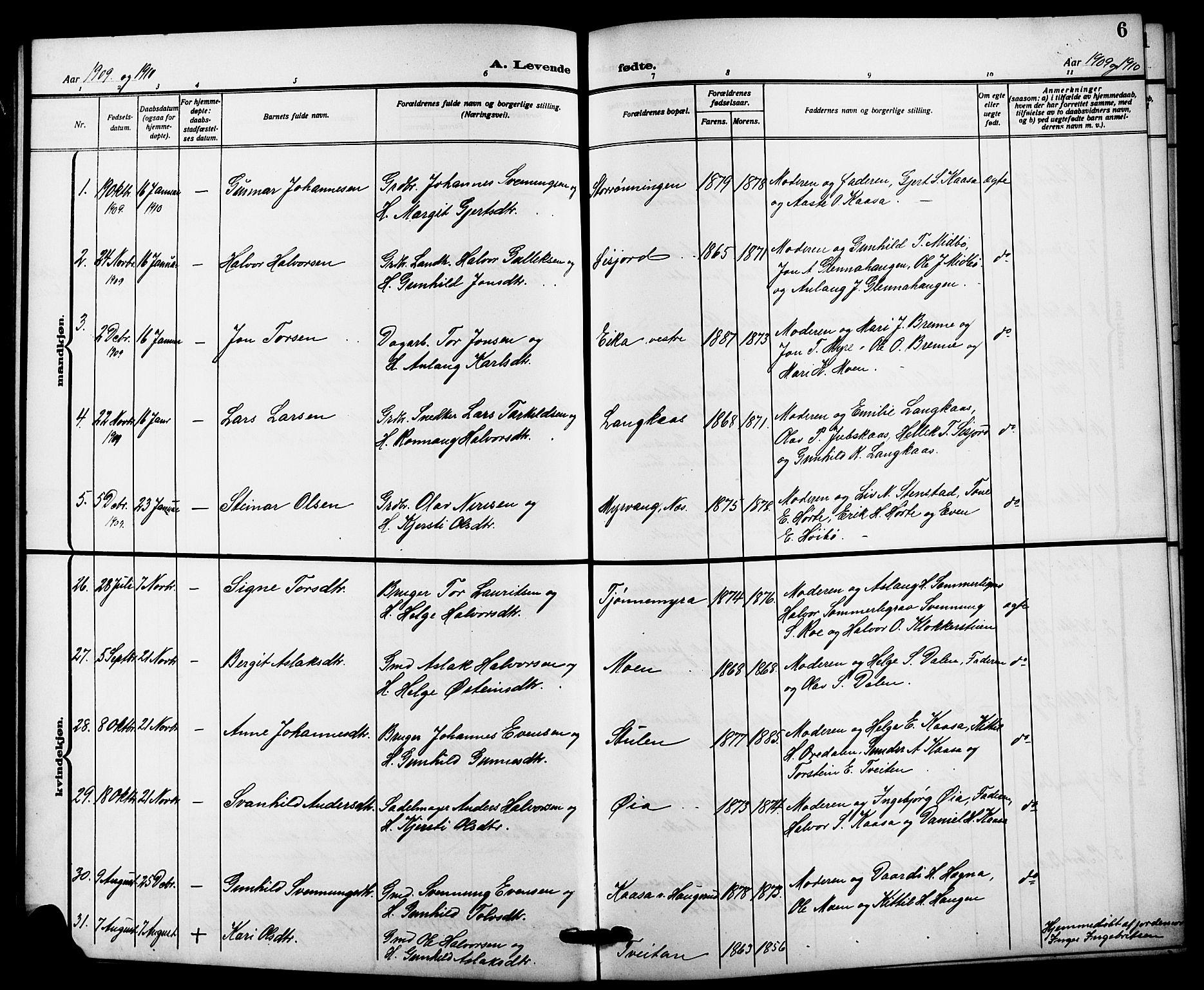 SAKO, Bø kirkebøker, G/Ga/L0007: Klokkerbok nr. 7, 1909-1924, s. 6