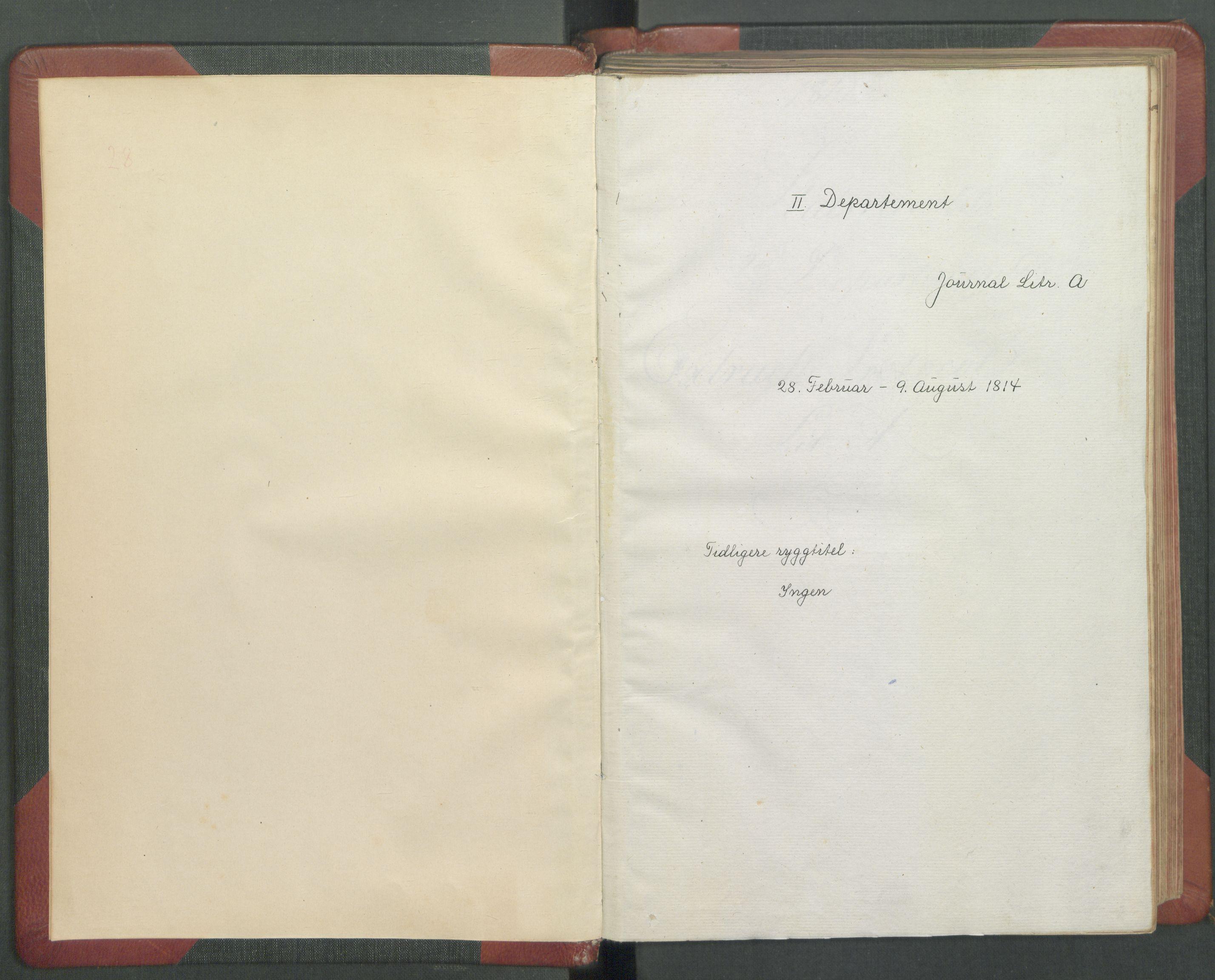 RA, Departementene i 1814, Fb/L0029: Journal A 1-900 (ekstraktprotokoll), 1814
