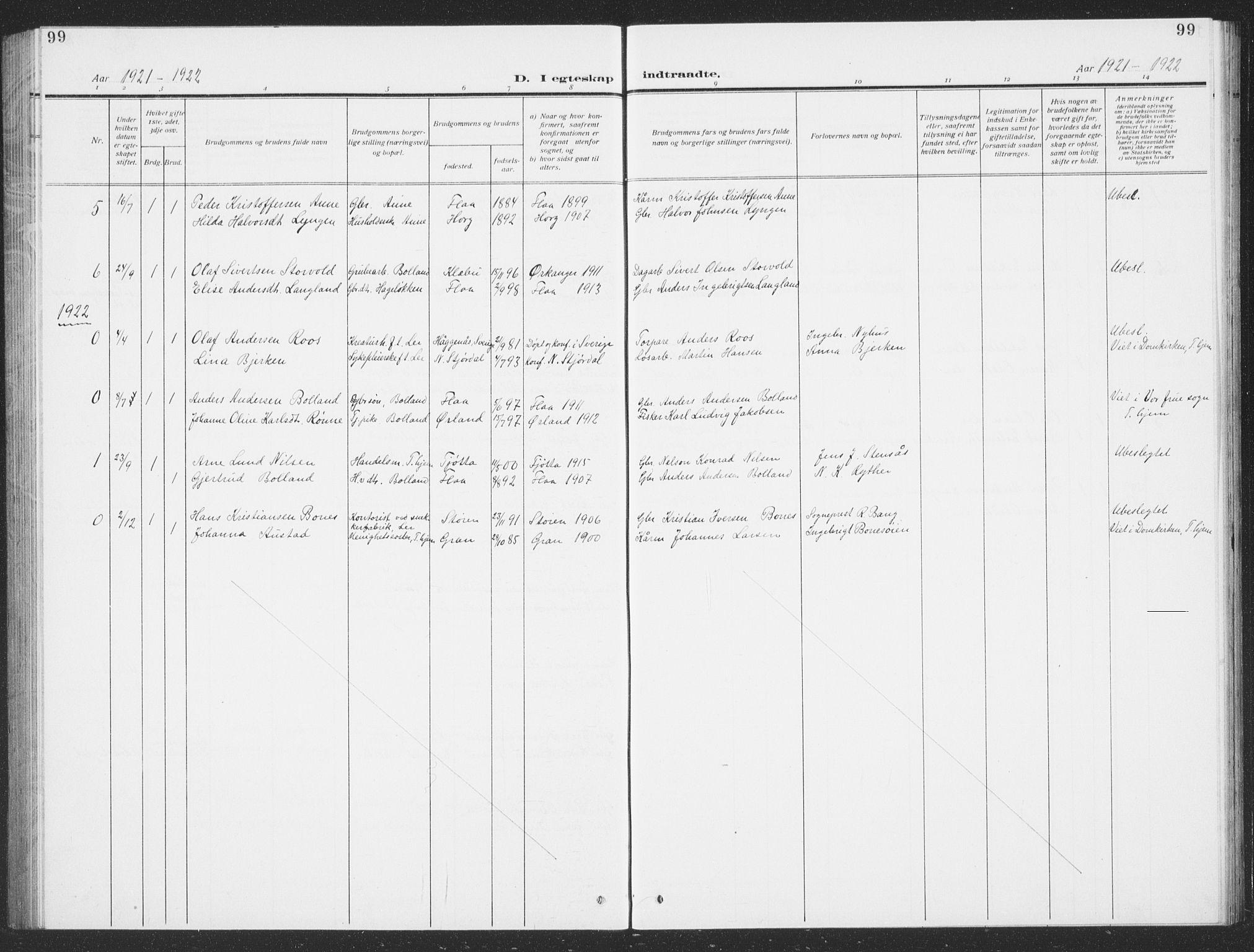 SAT, Ministerialprotokoller, klokkerbøker og fødselsregistre - Sør-Trøndelag, 693/L1124: Klokkerbok nr. 693C05, 1911-1941, s. 99
