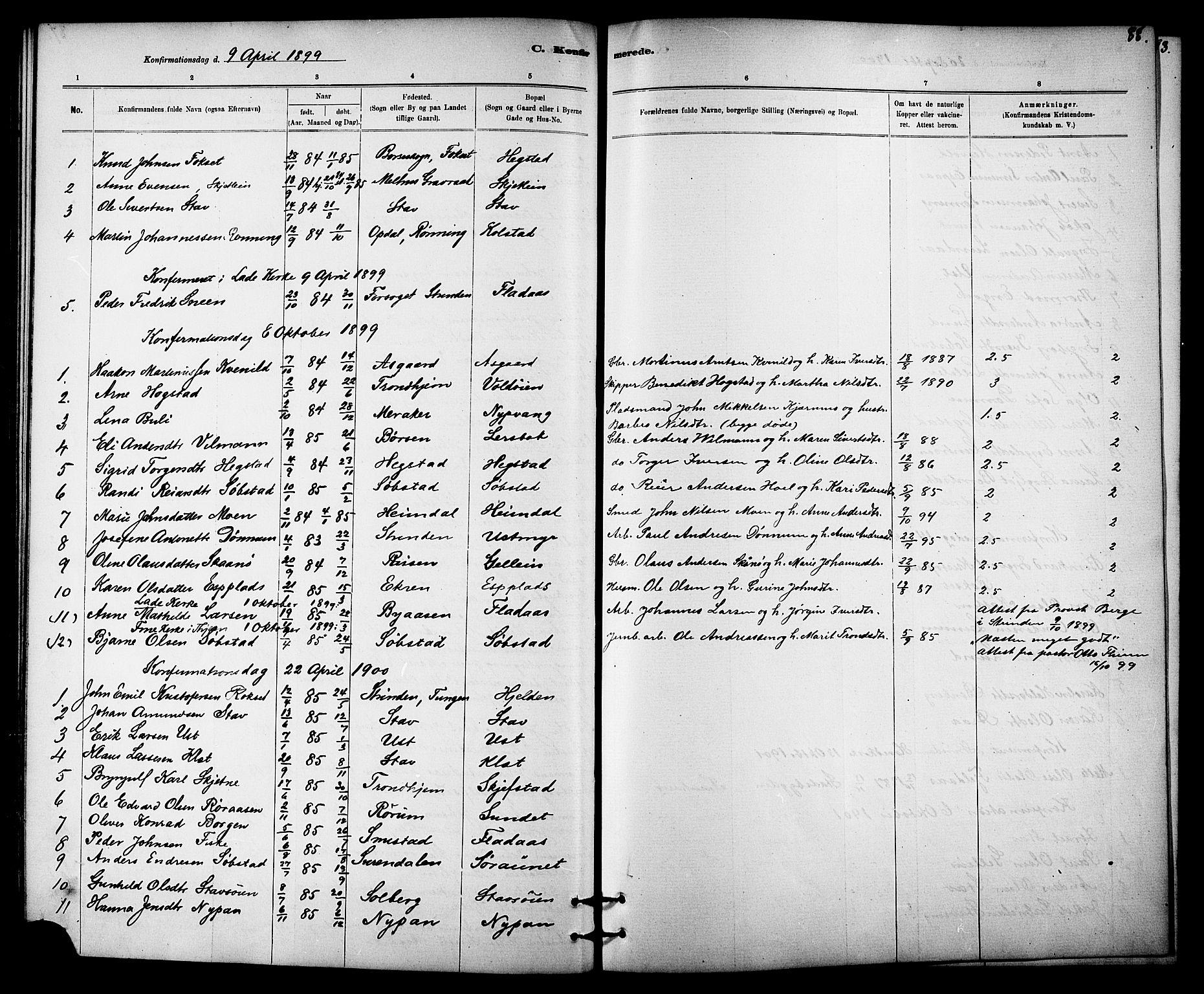 SAT, Ministerialprotokoller, klokkerbøker og fødselsregistre - Sør-Trøndelag, 613/L0395: Klokkerbok nr. 613C03, 1887-1909, s. 88