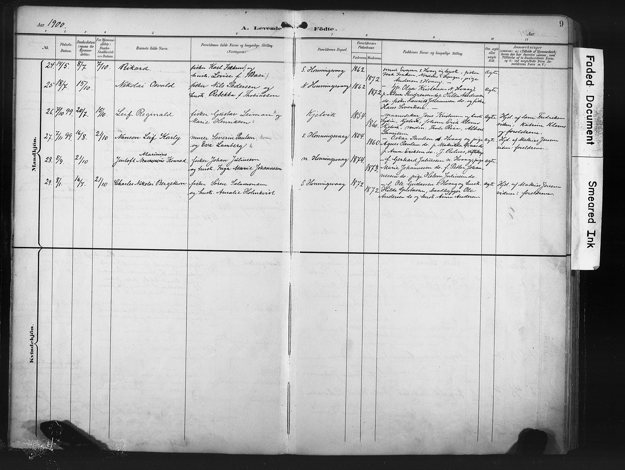 SATØ, Måsøy sokneprestkontor, H/Ha/L0008kirke: Ministerialbok nr. 8, 1900-1910, s. 9