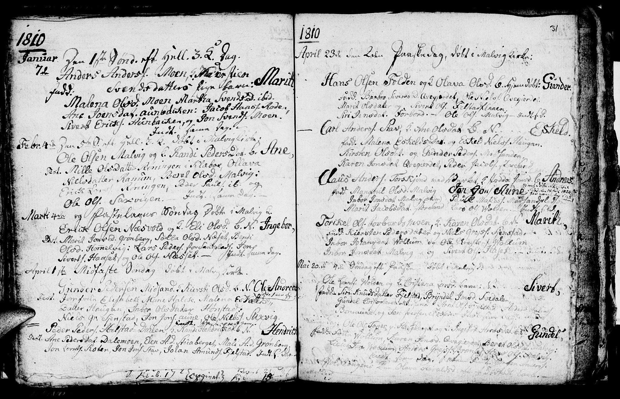 SAT, Ministerialprotokoller, klokkerbøker og fødselsregistre - Sør-Trøndelag, 616/L0419: Klokkerbok nr. 616C02, 1797-1816, s. 31