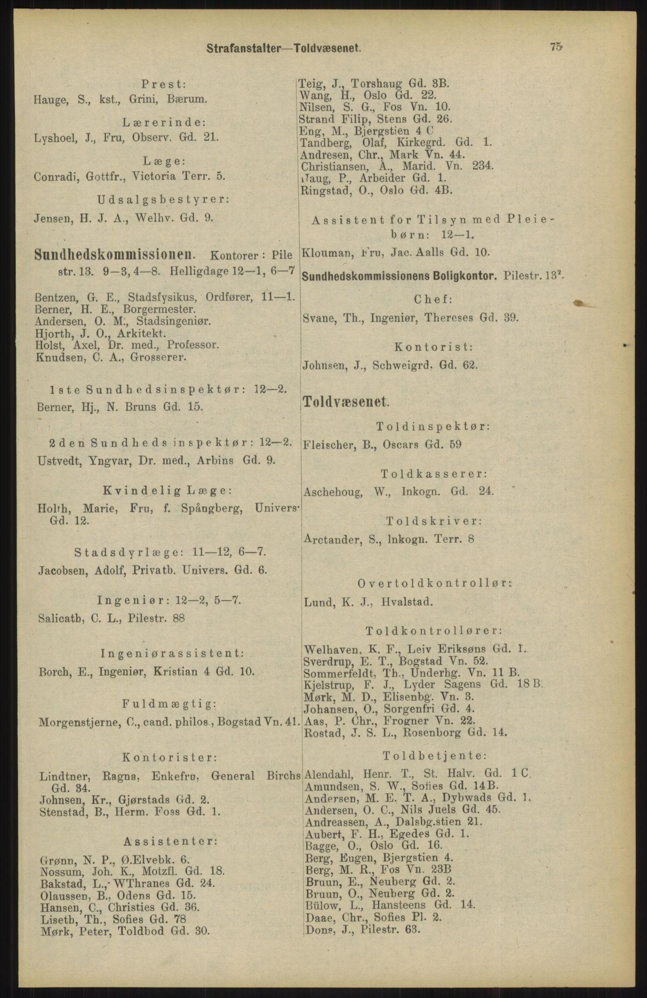 RA, Kristiania adressebok (publikasjon)*, 1904, s. 75