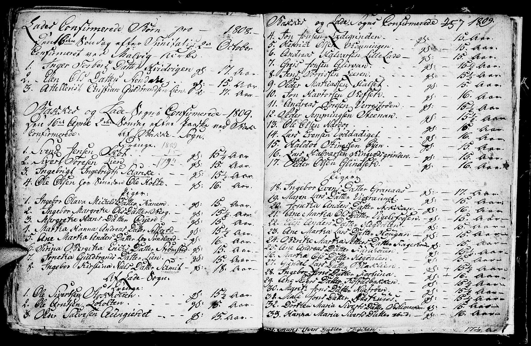 SAT, Ministerialprotokoller, klokkerbøker og fødselsregistre - Sør-Trøndelag, 604/L0218: Klokkerbok nr. 604C01, 1754-1819, s. 257