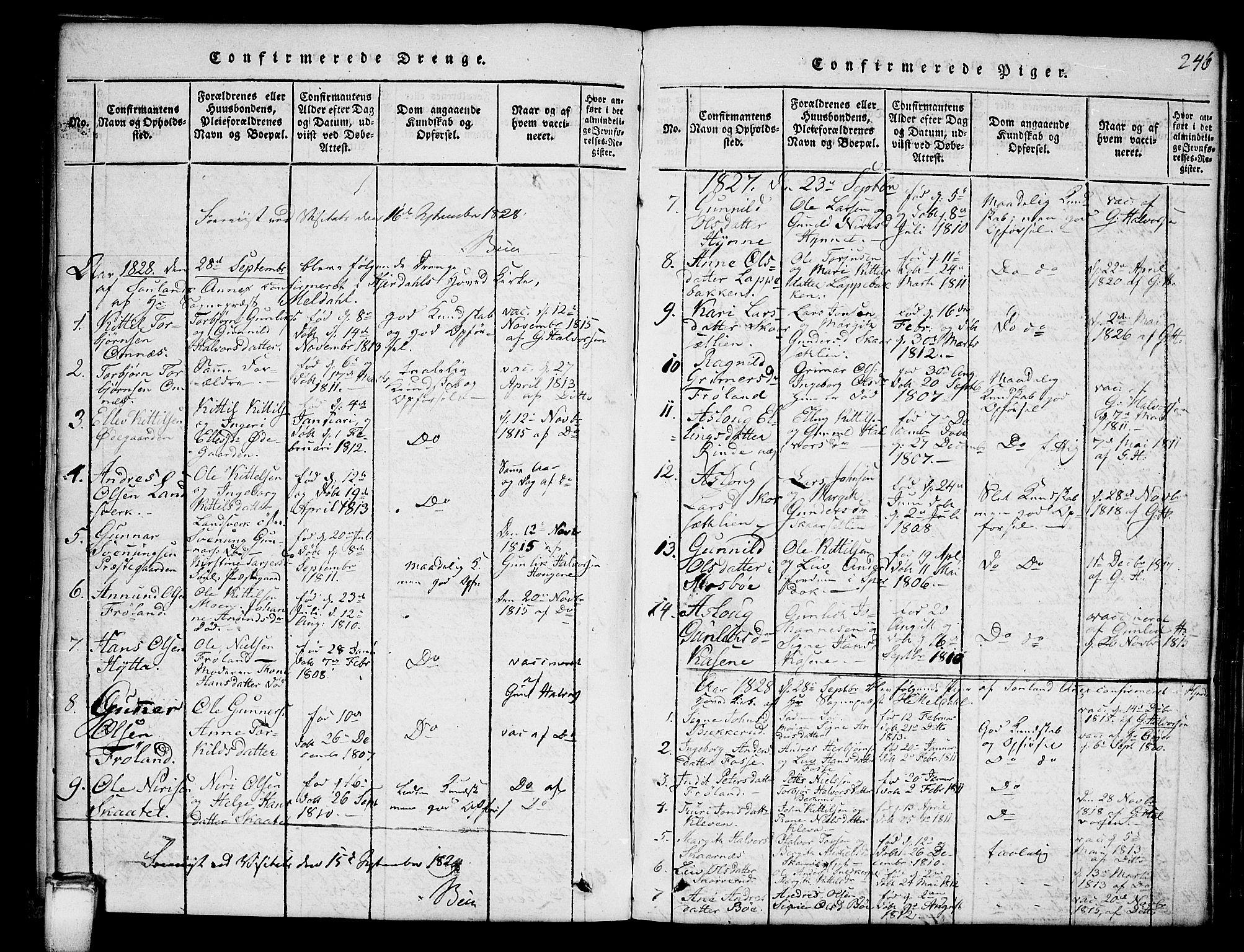 SAKO, Hjartdal kirkebøker, G/Gb/L0001: Klokkerbok nr. II 1, 1815-1842, s. 246
