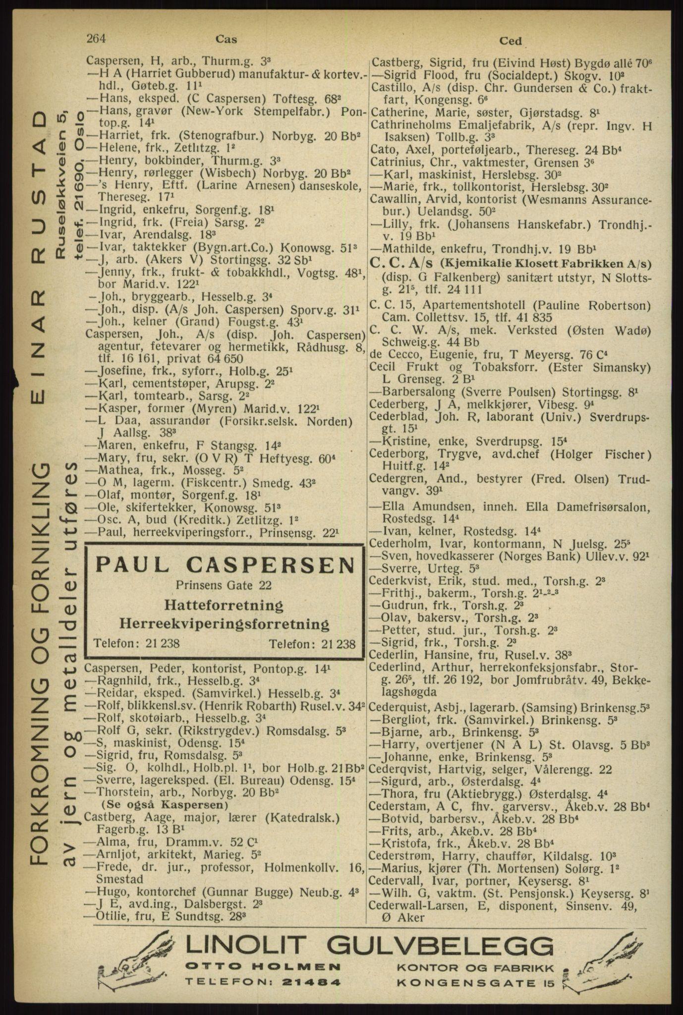 RA, Oslo adressebok (publikasjon)*, 1933, s. 264